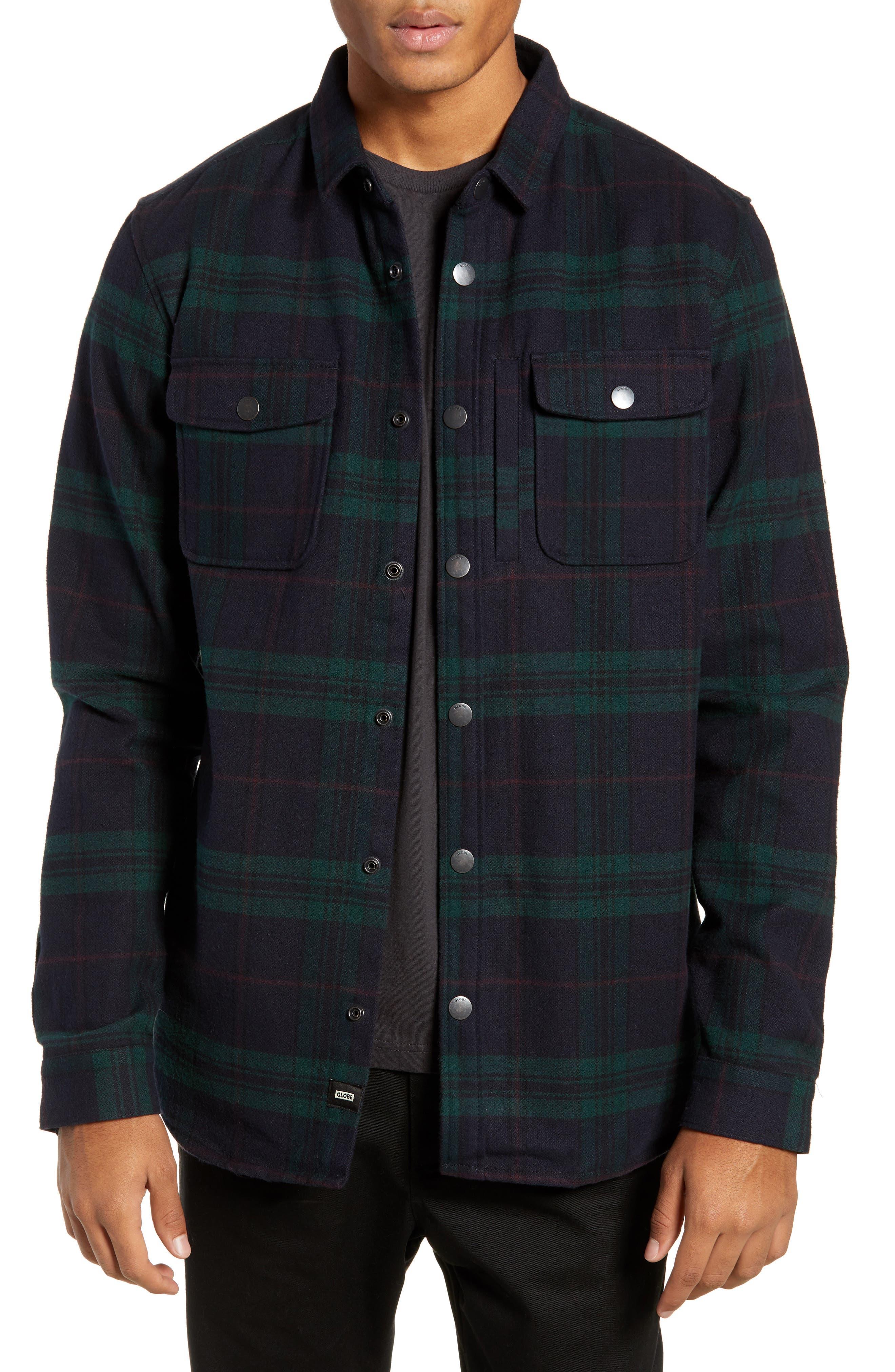 GLOBE Clifton Long Sleeve Flannel Shirt in Bottle Green