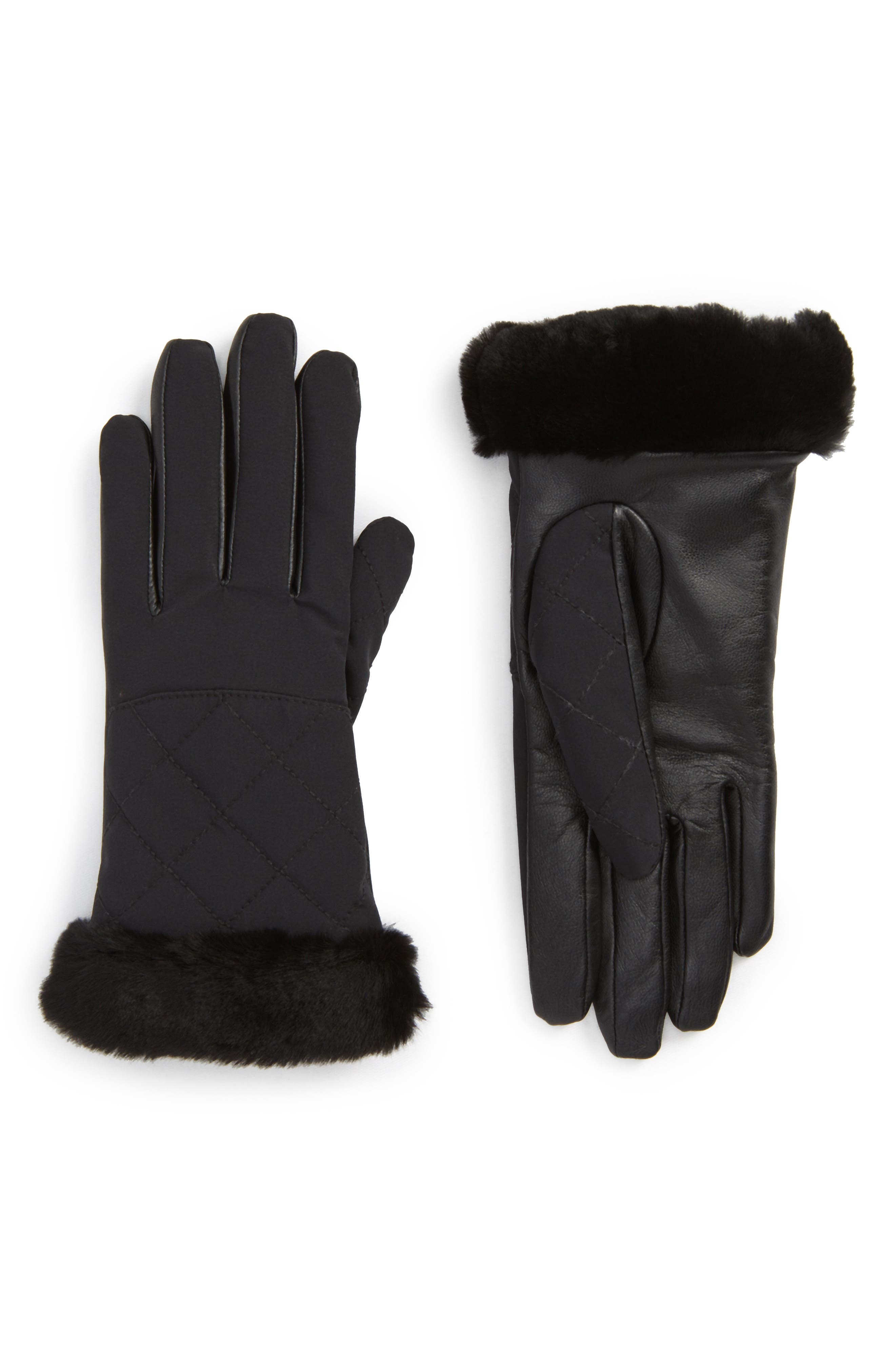 UGG<sup>®</sup> Water Resistant Touchscreen Quilted Nylon, Leather & Genuine Shearling Gloves,                         Main,                         color, 001