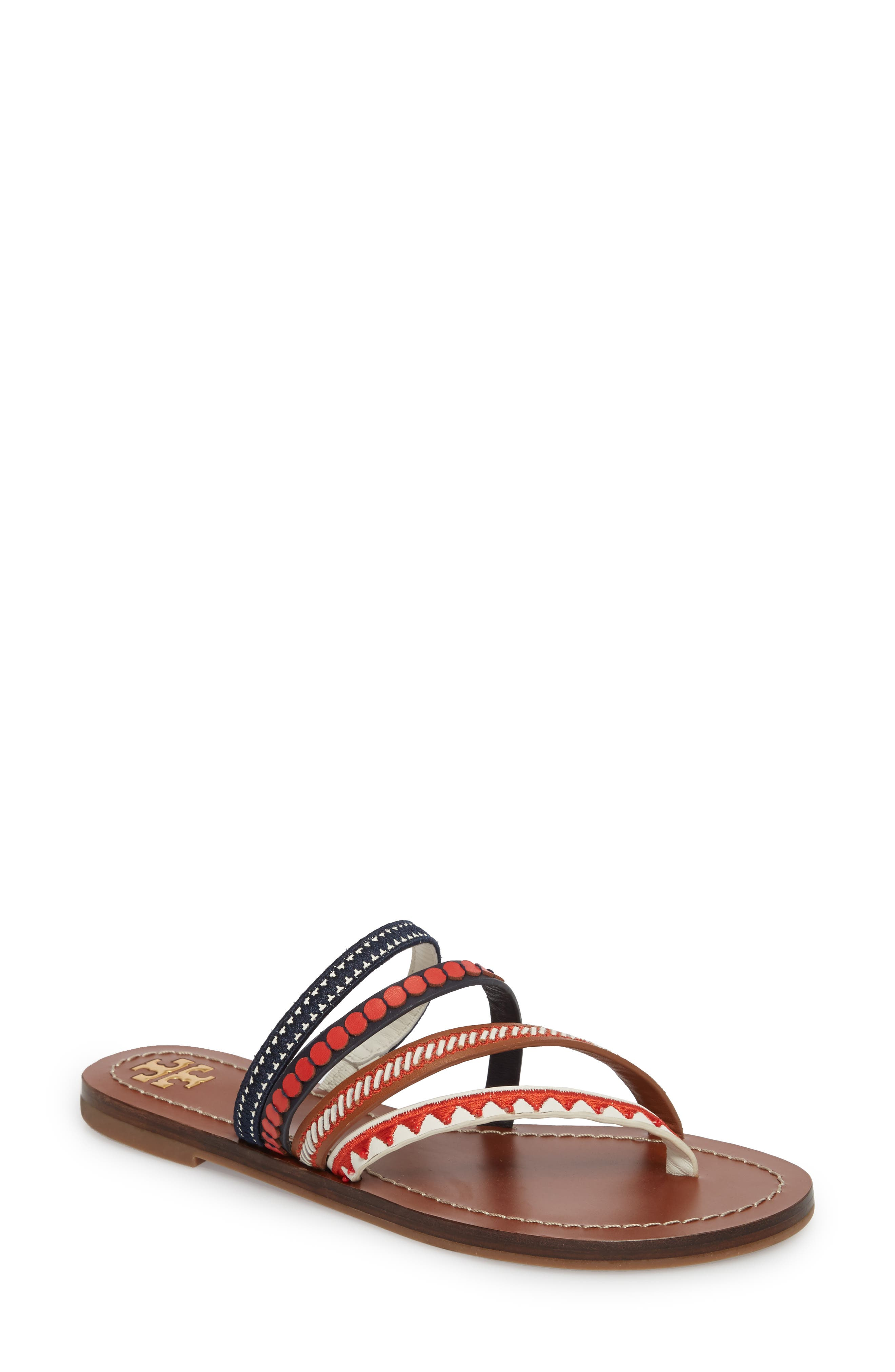 Patos Embroidered Thong Sandal,                             Main thumbnail 1, color,                             PERFECT CUOIO/ MULTI MUTLI