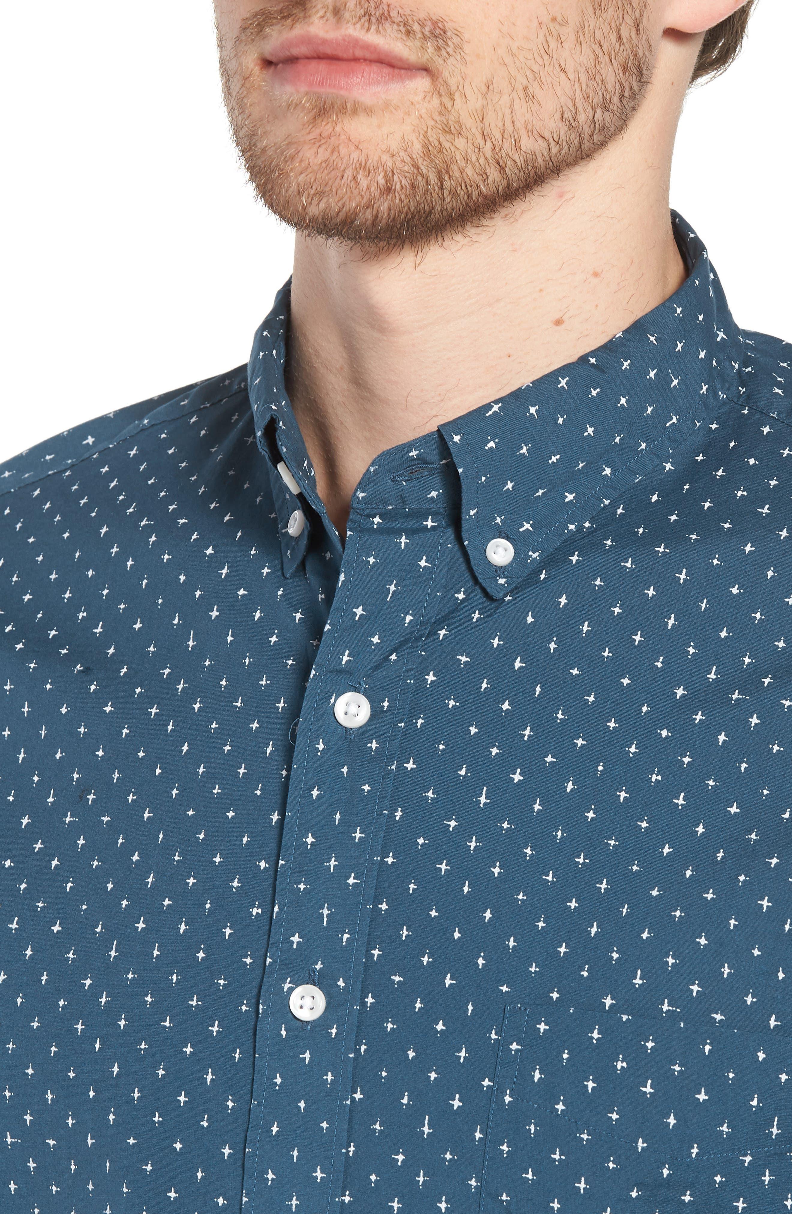 Slim Fit Stretch Secret Wash Crosshatch Print Sport Shirt,                             Alternate thumbnail 4, color,                             CARAVAN BLUE