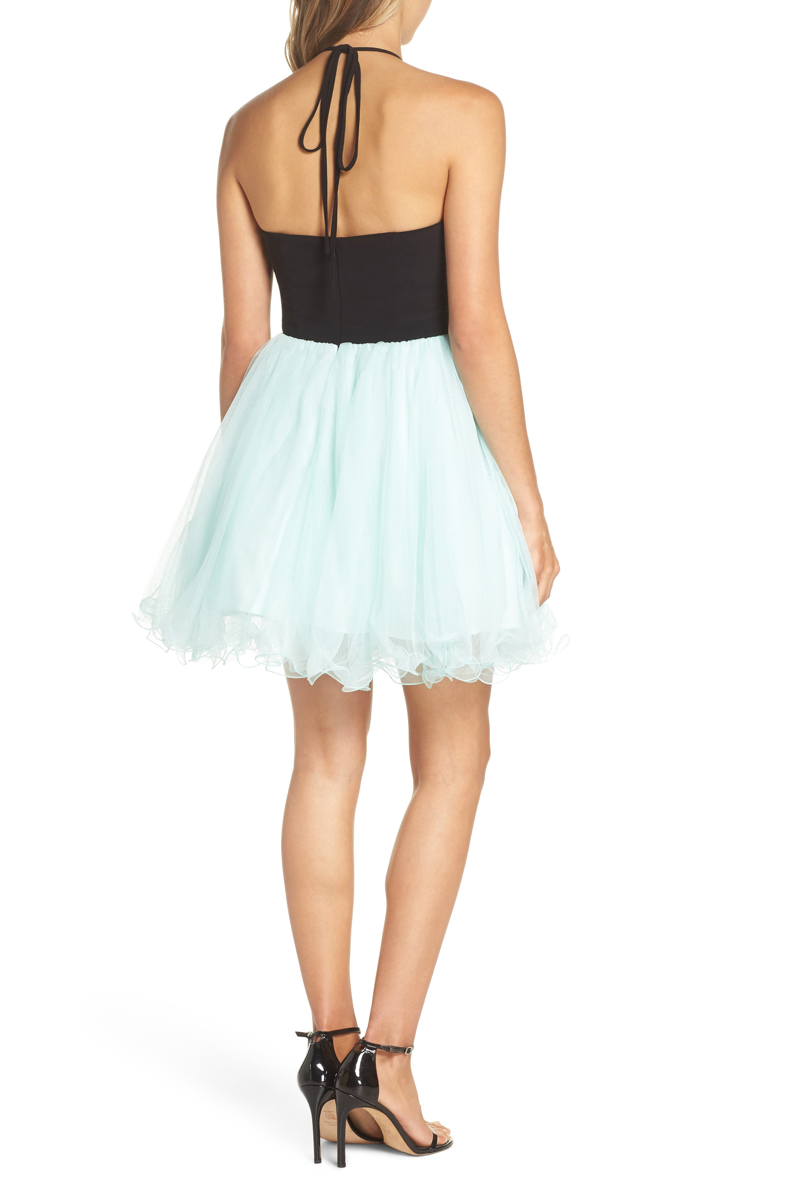 Appliqué Mesh Fit & Flare Halter Dress,                             Alternate thumbnail 2, color,                             BLACK/ MINT