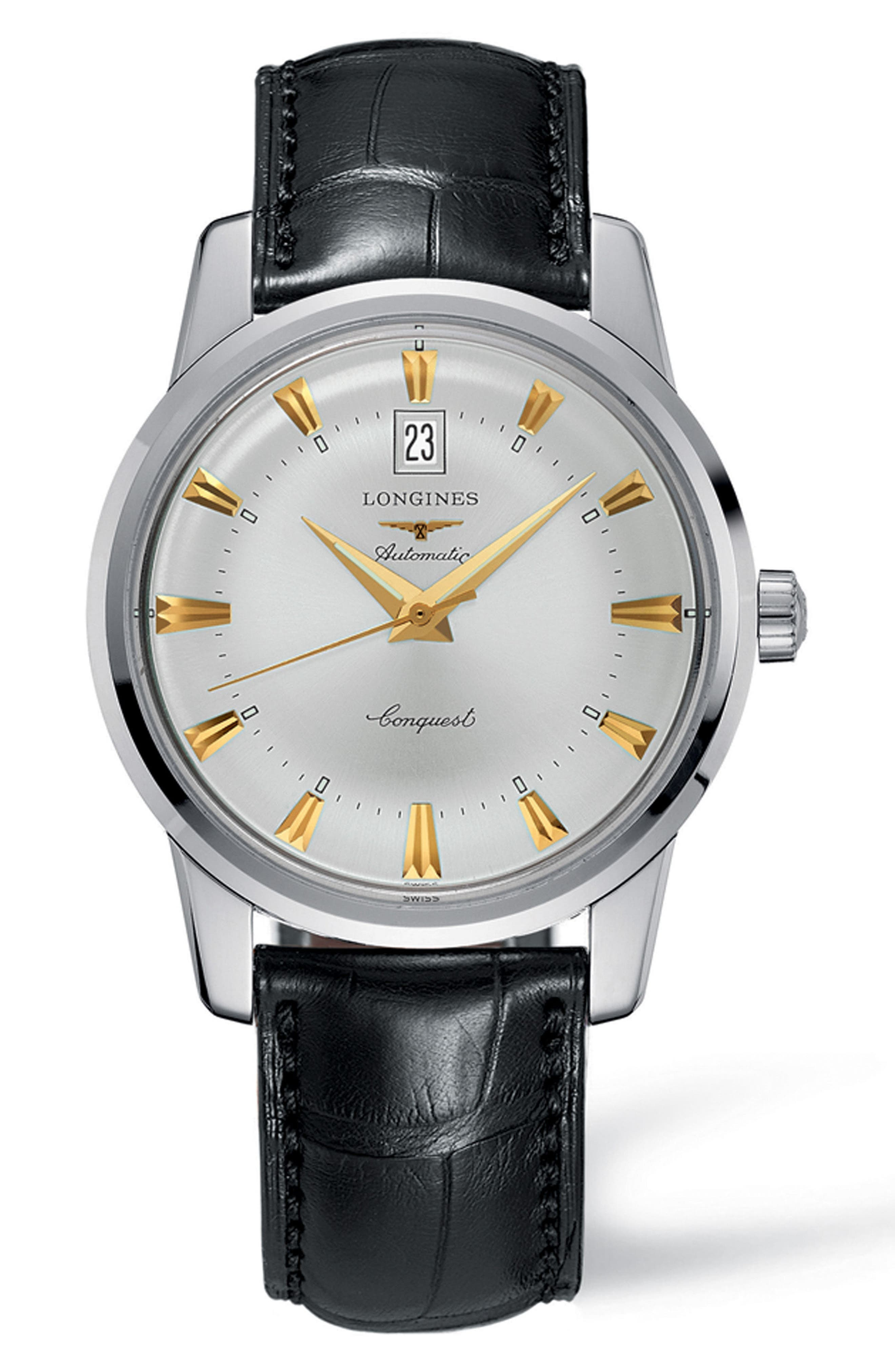 Conquest Heritage Automatic Leather Strap Watch, 40mm,                         Main,                         color, BLACK/ SILVER/ GOLD