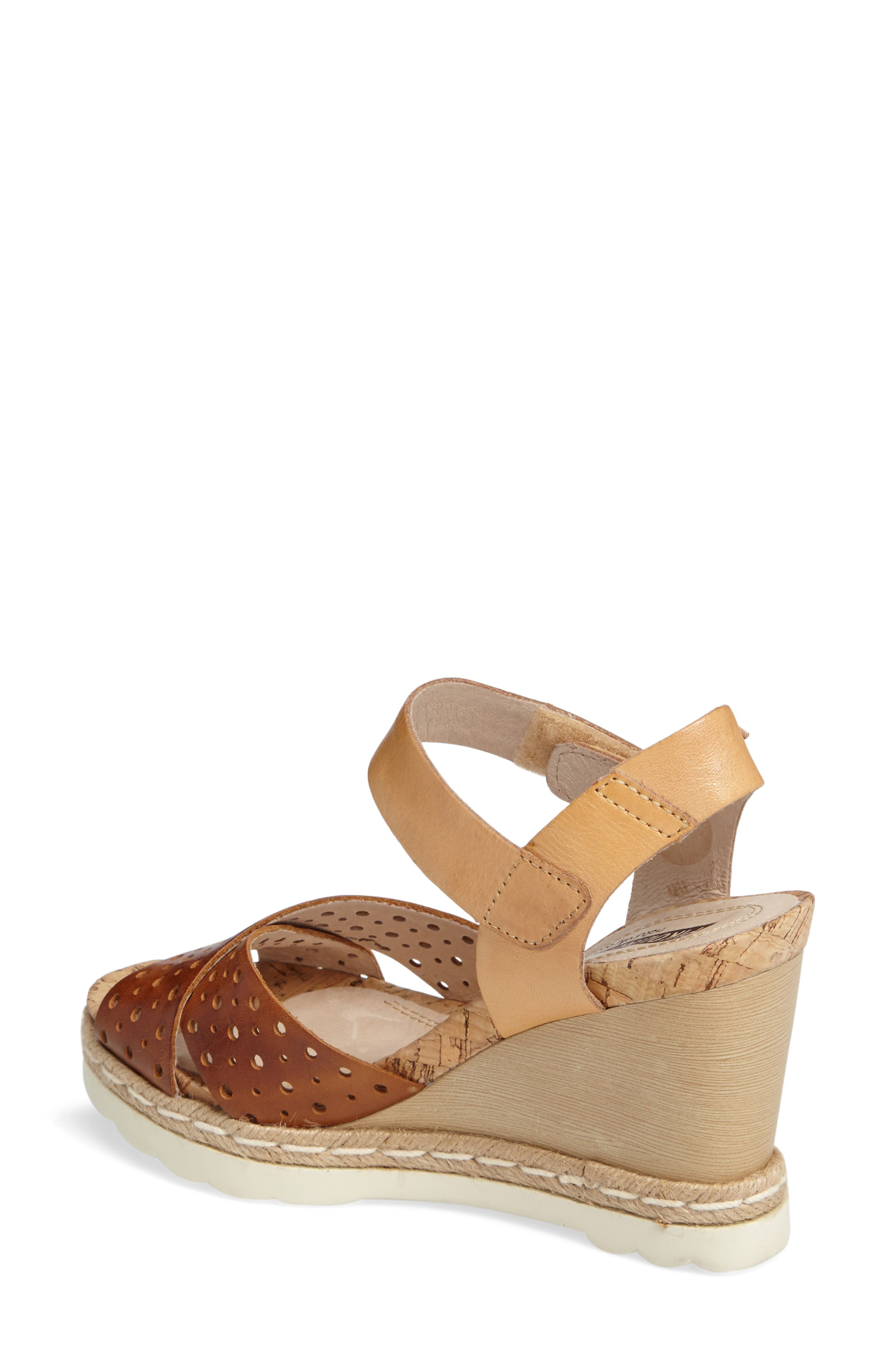 Bali Wedge Sandal,                             Alternate thumbnail 2, color,                             BRANDY CAMEL LEATHER