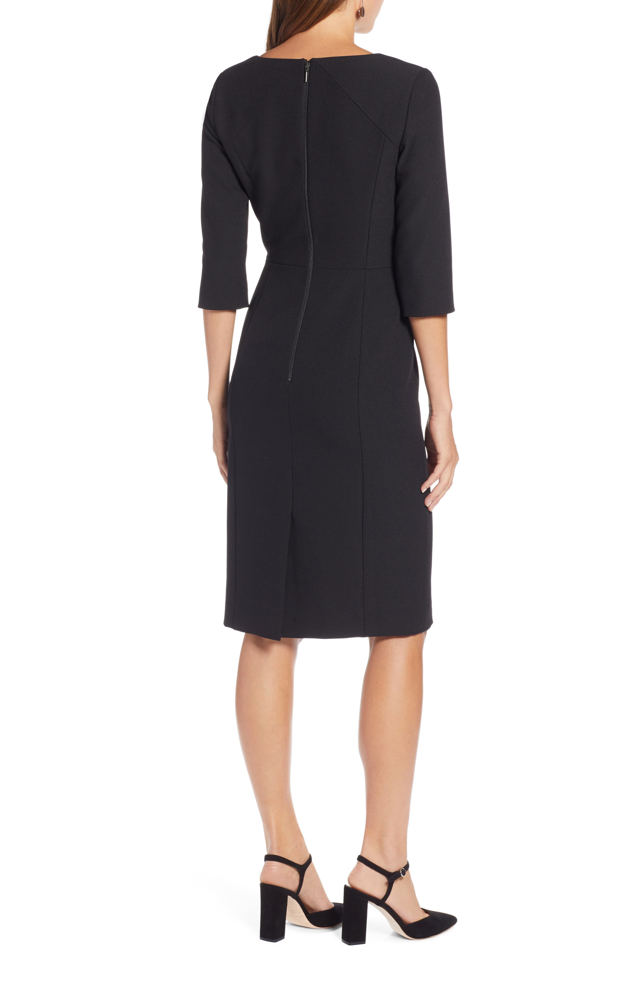 HALOGEN<SUP>®</SUP>,                             Textured Stretch Sheath Dress,                             Alternate thumbnail 2, color,                             001