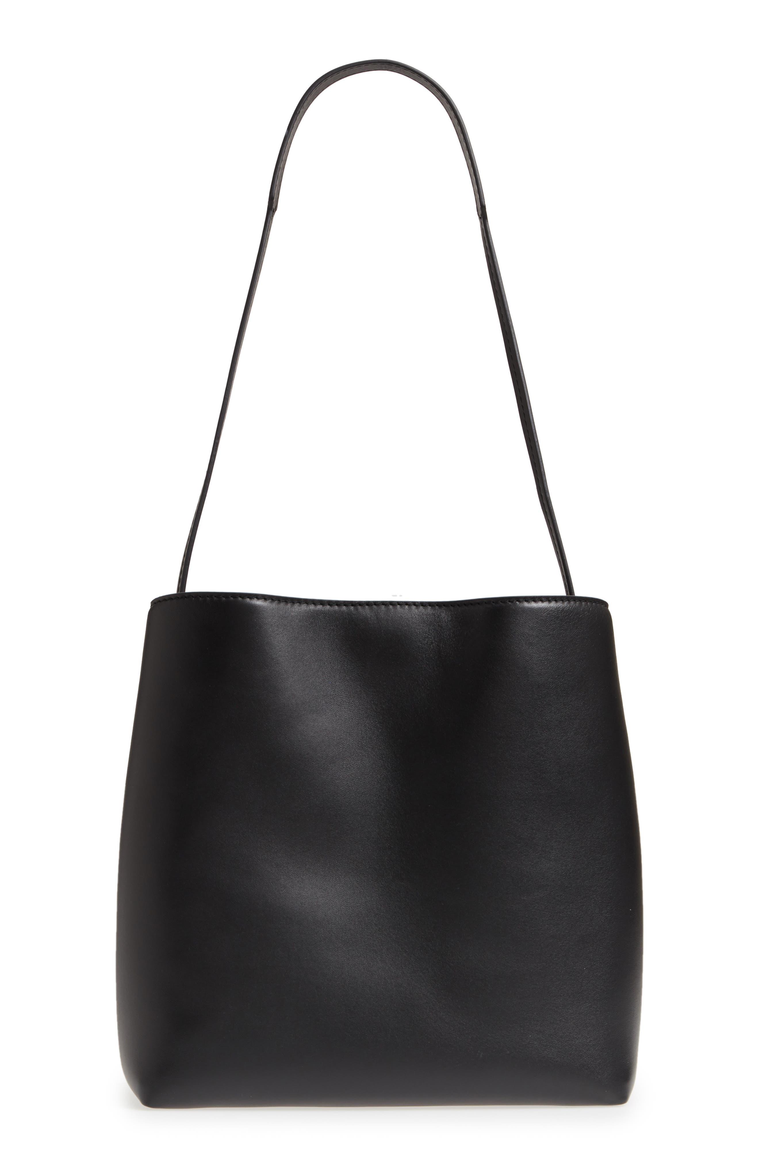 Frame Leather Shoulder Bag,                             Alternate thumbnail 3, color,                             BLACK/ BLACK
