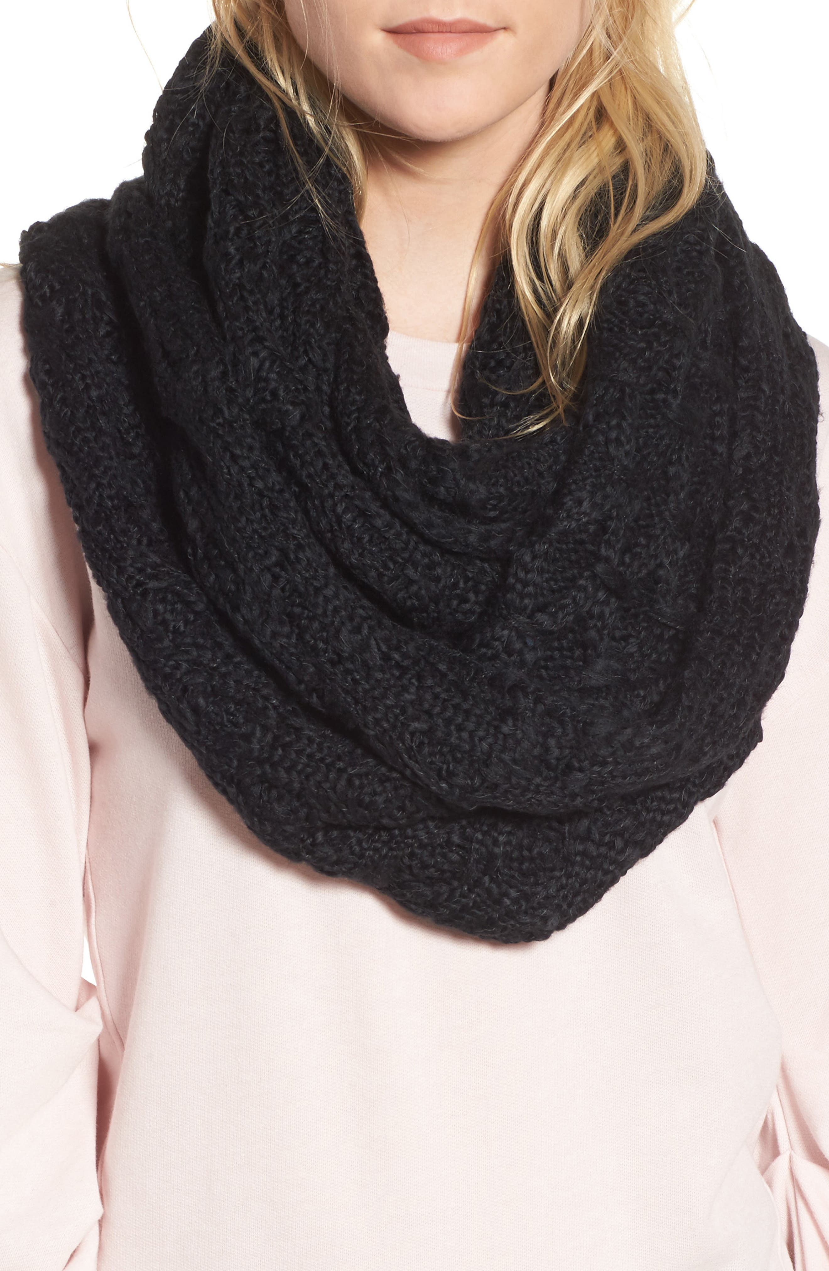 Solid Chunky Knit Infinity Scarf,                             Main thumbnail 1, color,                             001