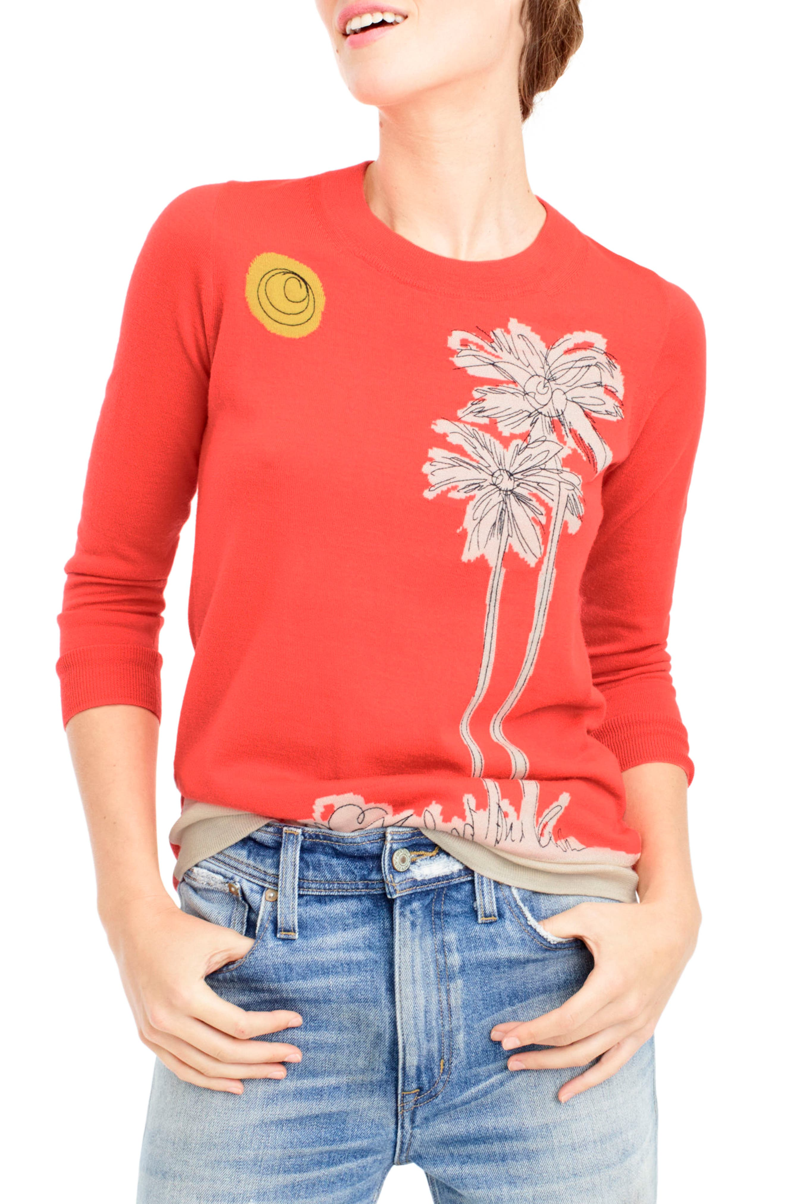 Embroidered Palm Tree Tippi Sweater,                             Main thumbnail 1, color,                             600