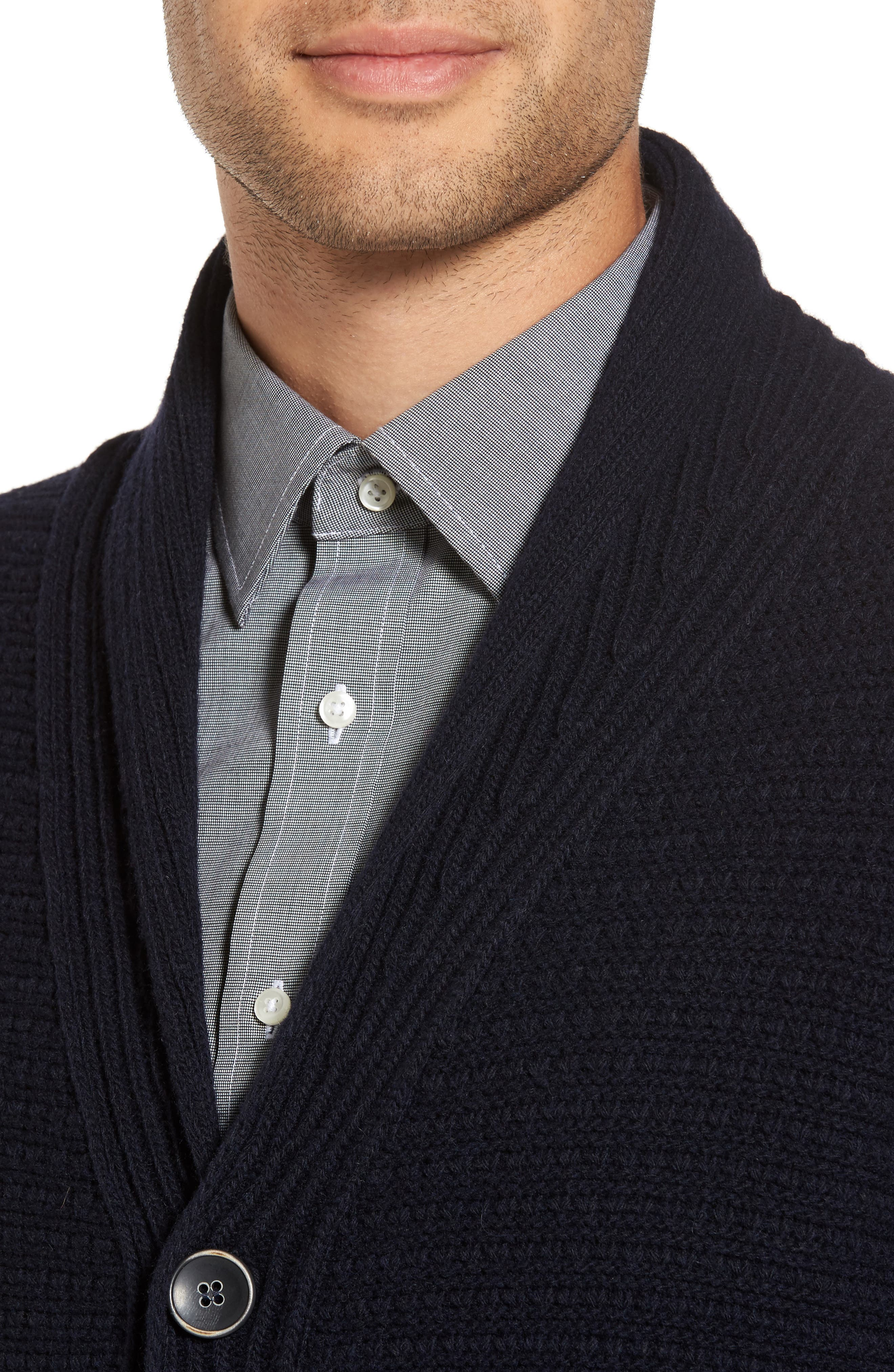 Shawl Collar Button Cardigan,                             Alternate thumbnail 4, color,