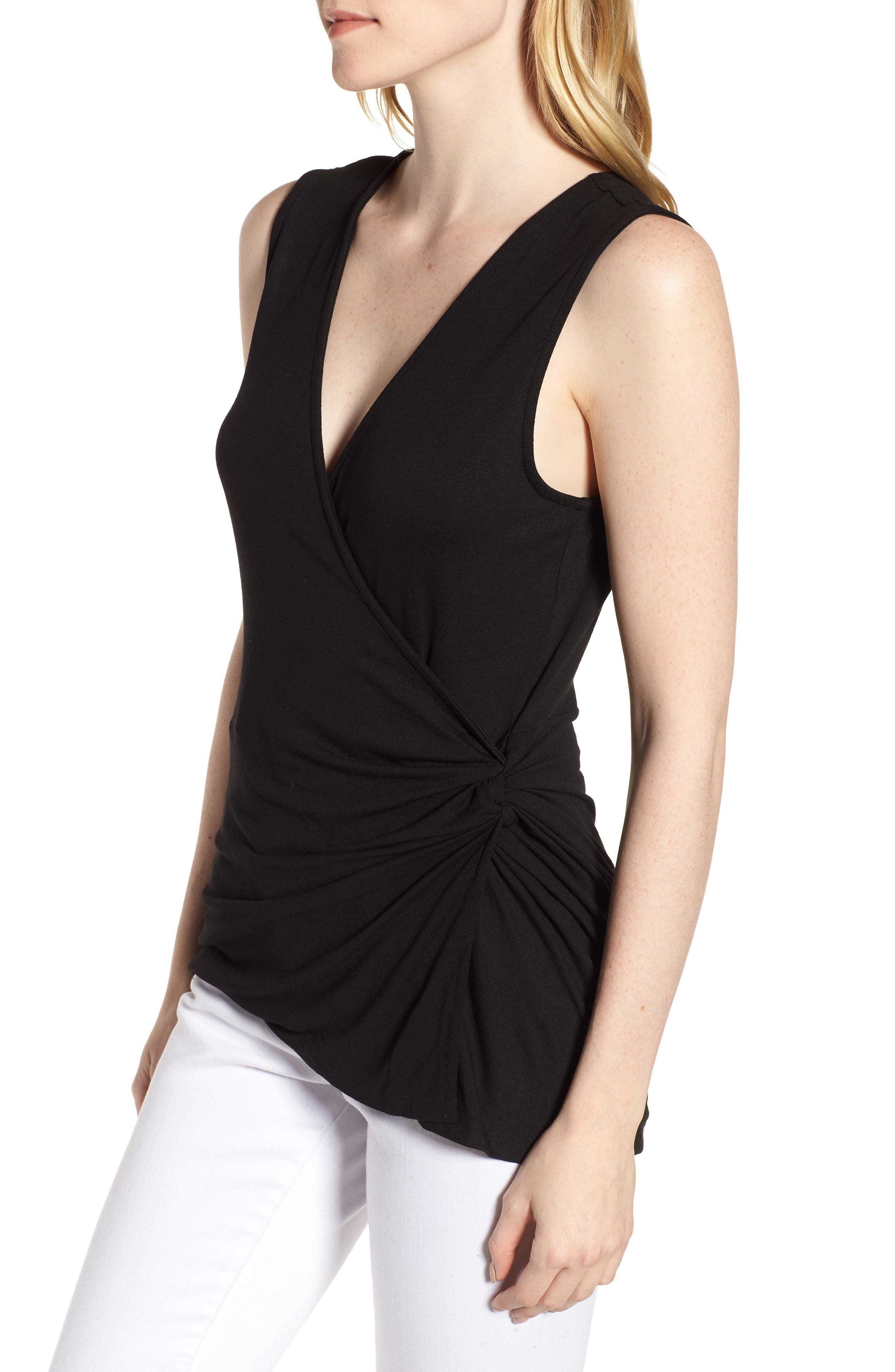 Side Knot Ruched Tank Top,                             Alternate thumbnail 3, color,                             001
