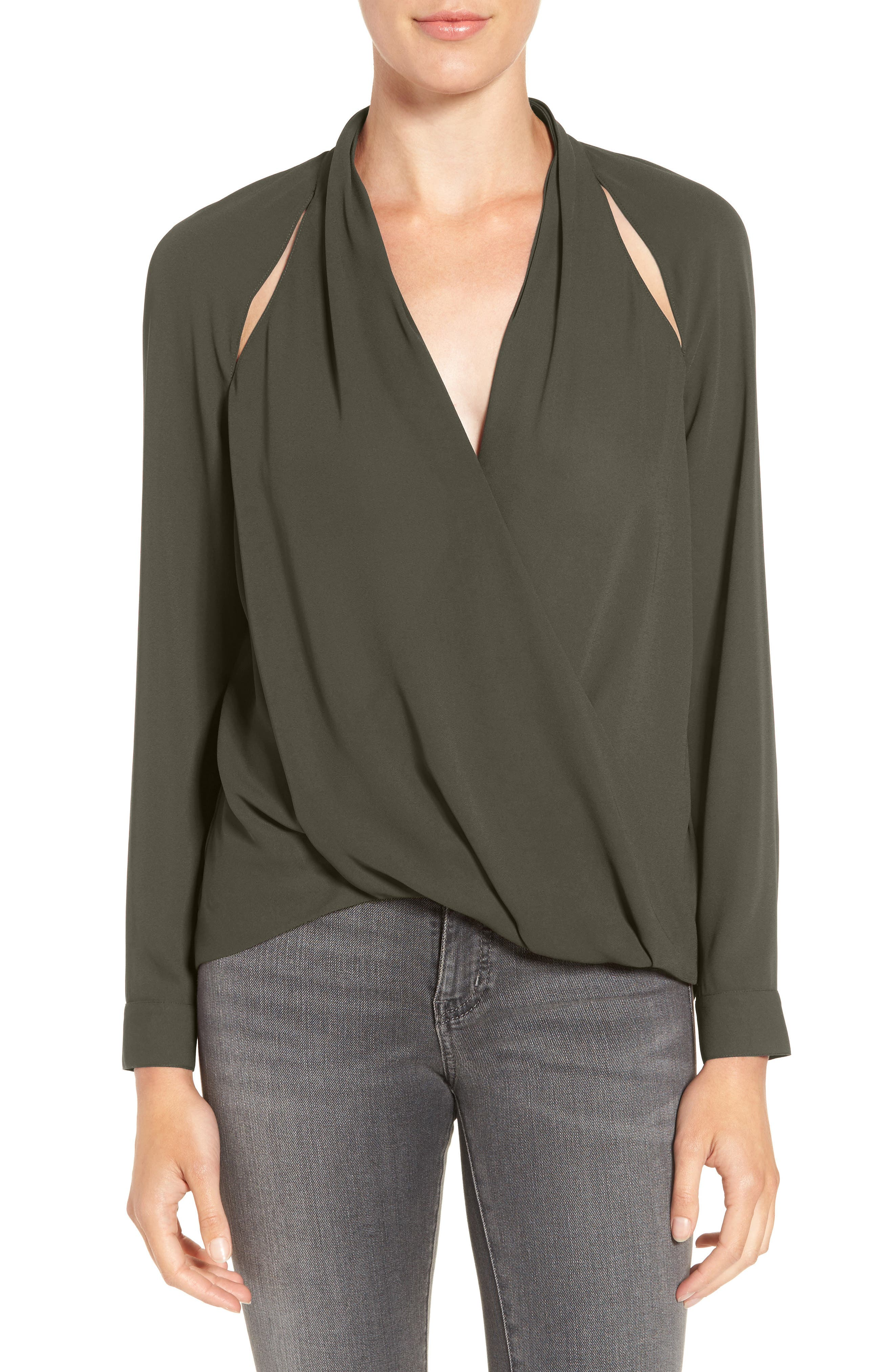 Cutout Surplice Top,                             Main thumbnail 1, color,                             OLIVE SARMA