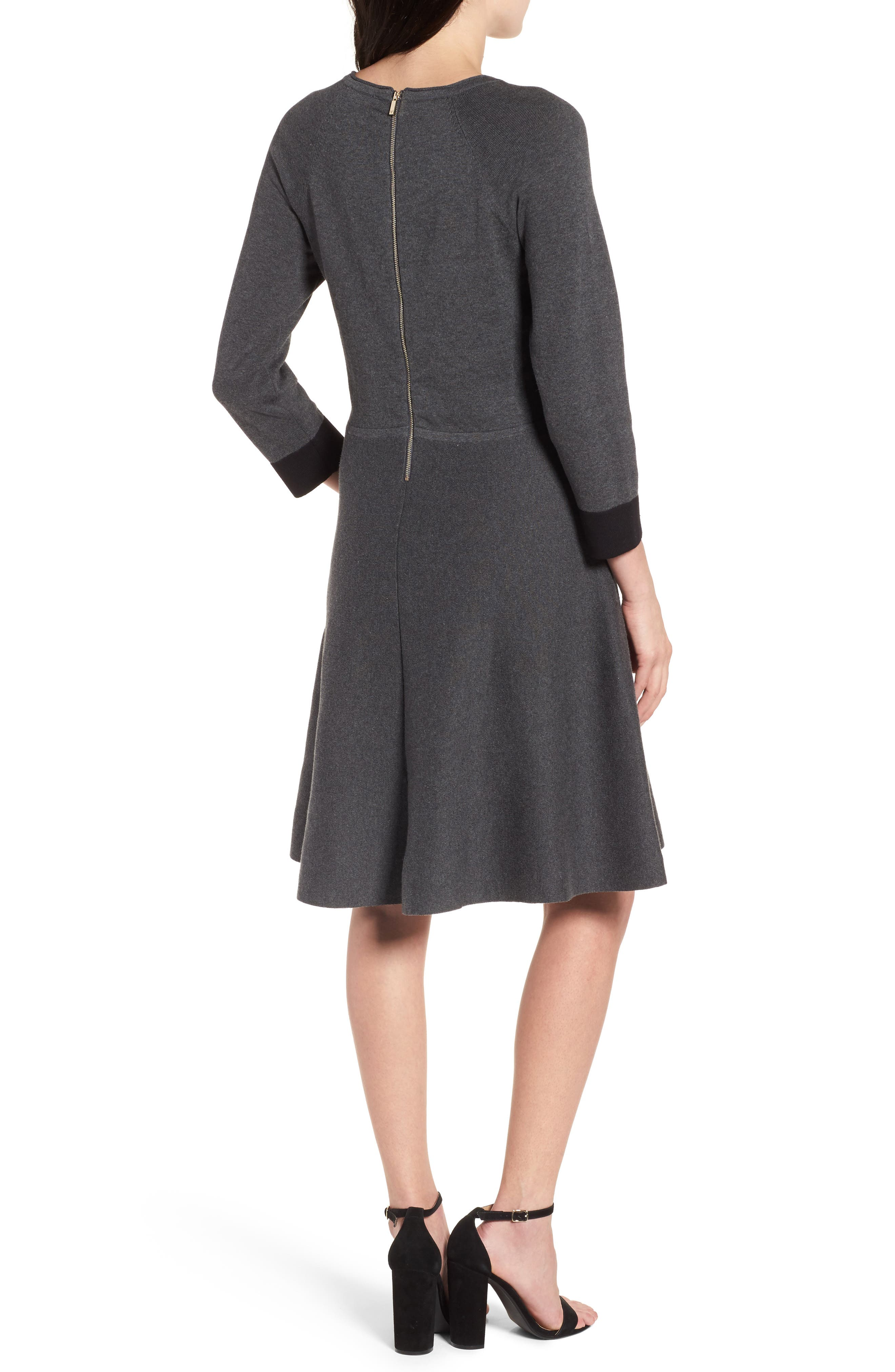 Fit & Flare Sweater Dress,                             Alternate thumbnail 2, color,                             023