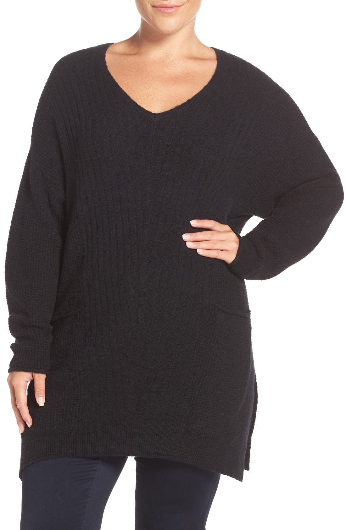 Mixed Stitch V-Neck Tunic Sweater,                         Main,                         color, 001