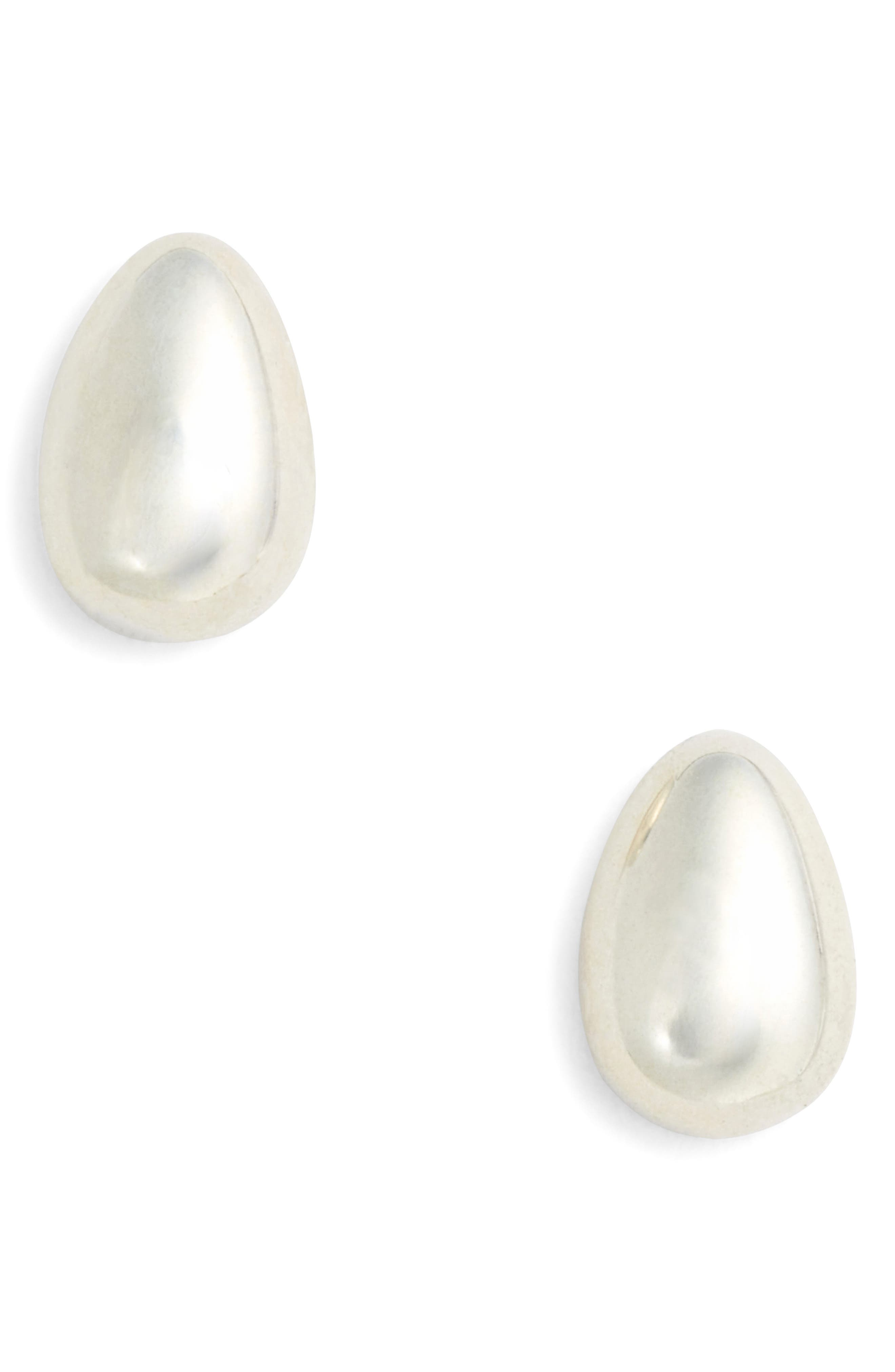 Tiny Egg Stud Earrings,                         Main,                         color, STERLING SILVER