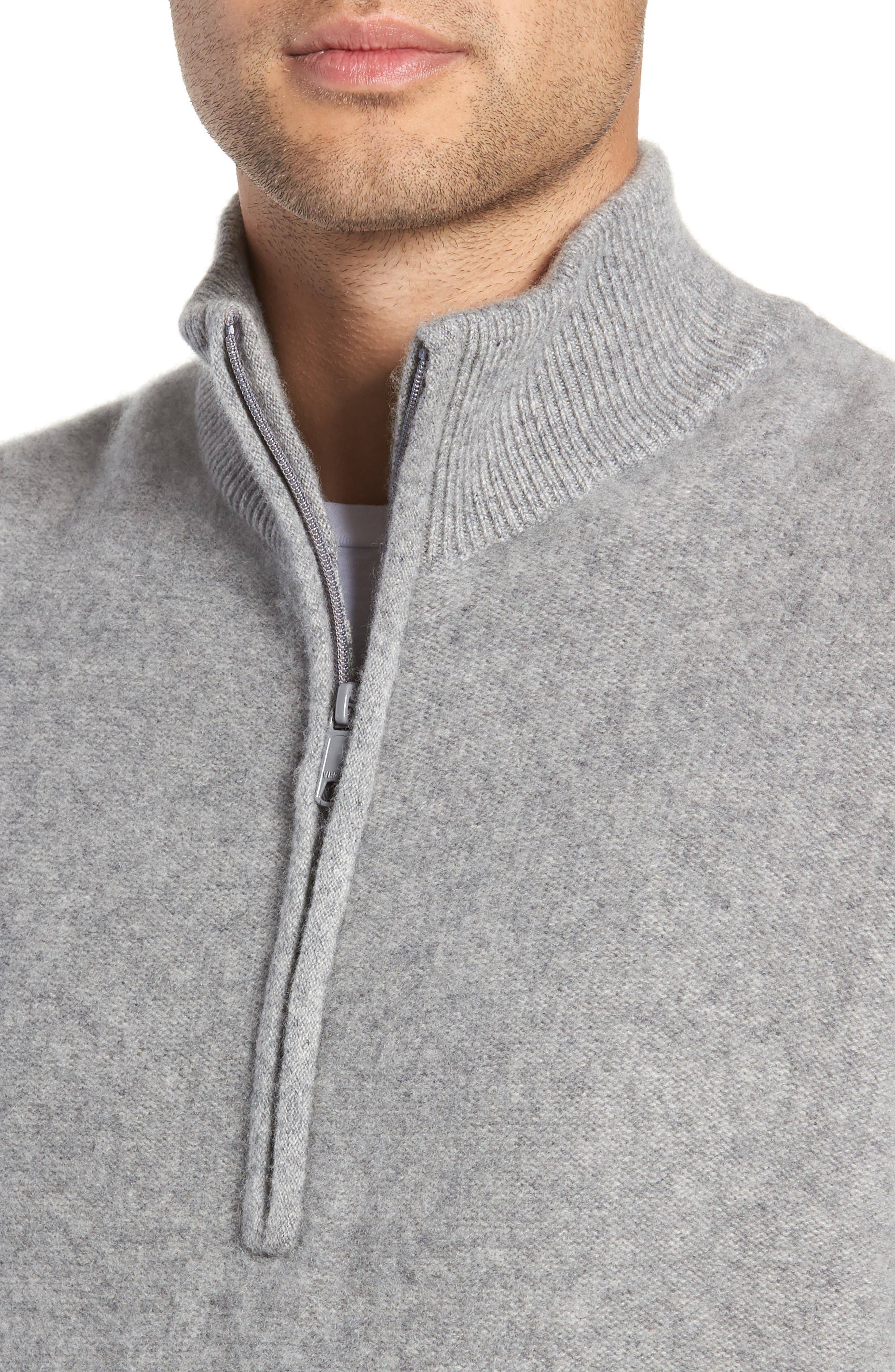 Cashmere Quarter Zip Sweater,                             Alternate thumbnail 4, color,                             H GREY