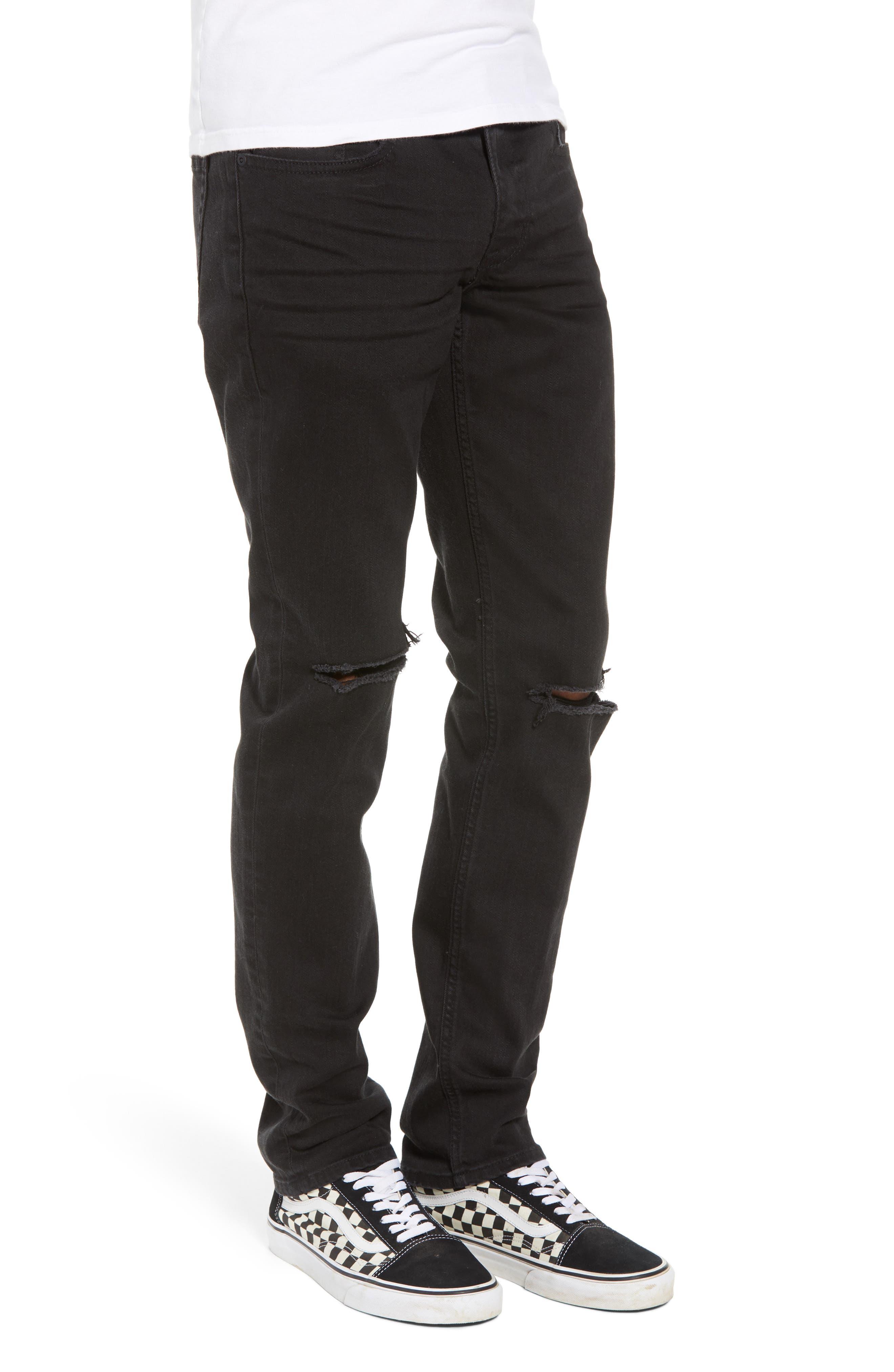 Ripped Skinny Jeans,                             Alternate thumbnail 3, color,                             BLACK STONE WASH