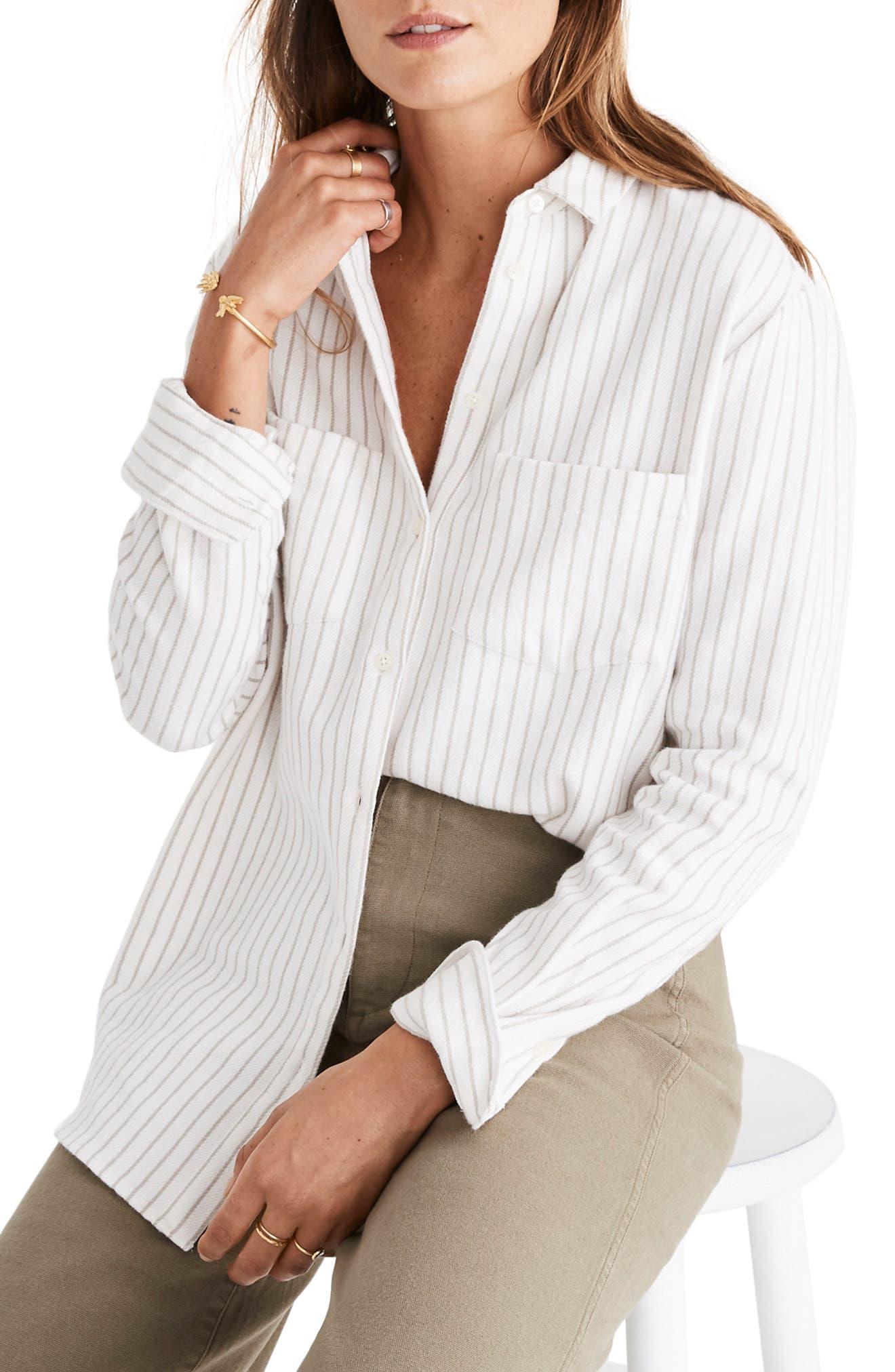 Sunday Stripe Flannel Shirt,                         Main,                         color, 900