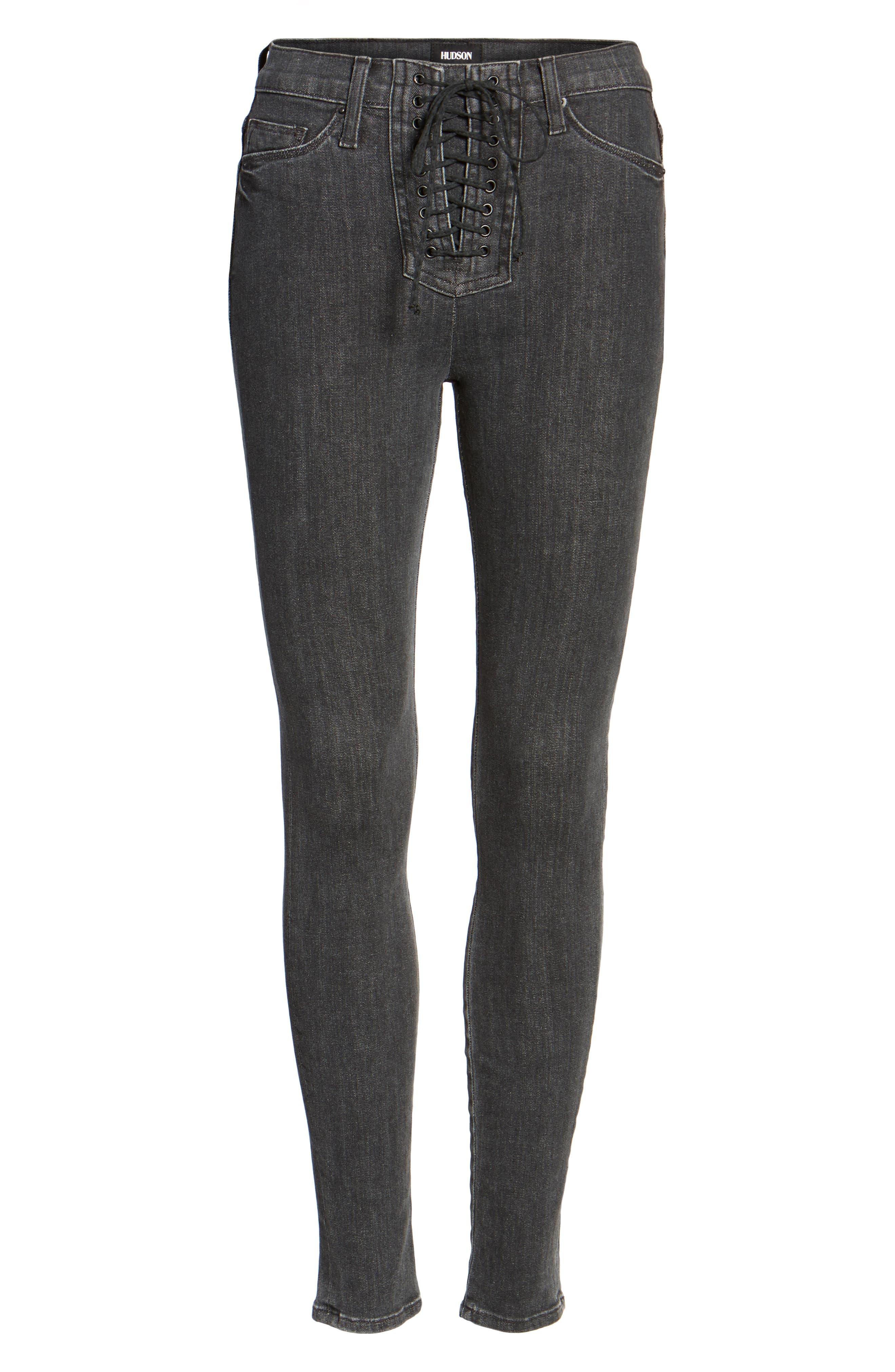Bullocks High Waist Lace-Up Skinny Jeans,                             Alternate thumbnail 6, color,                             001