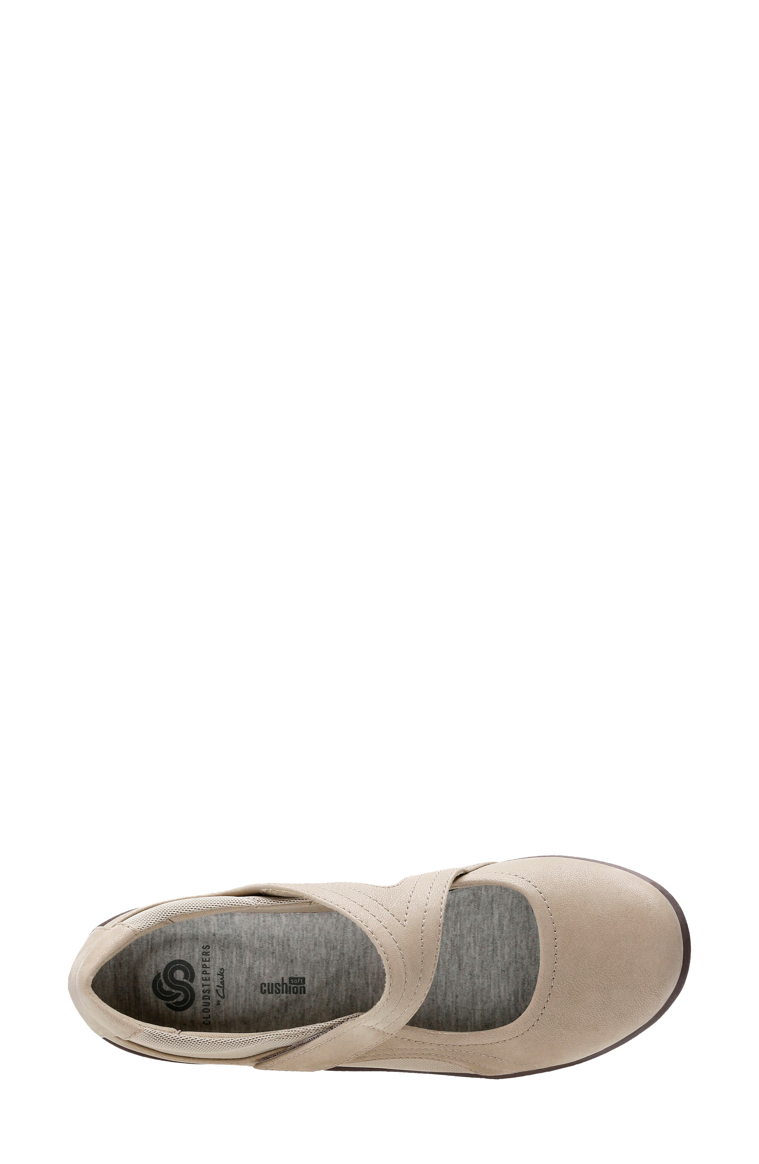 CLARKS<SUP>®</SUP>,                             Sillian Bella Mary Jane Flat,                             Alternate thumbnail 4, color,                             SAND SYNTHETIC NUBUCK