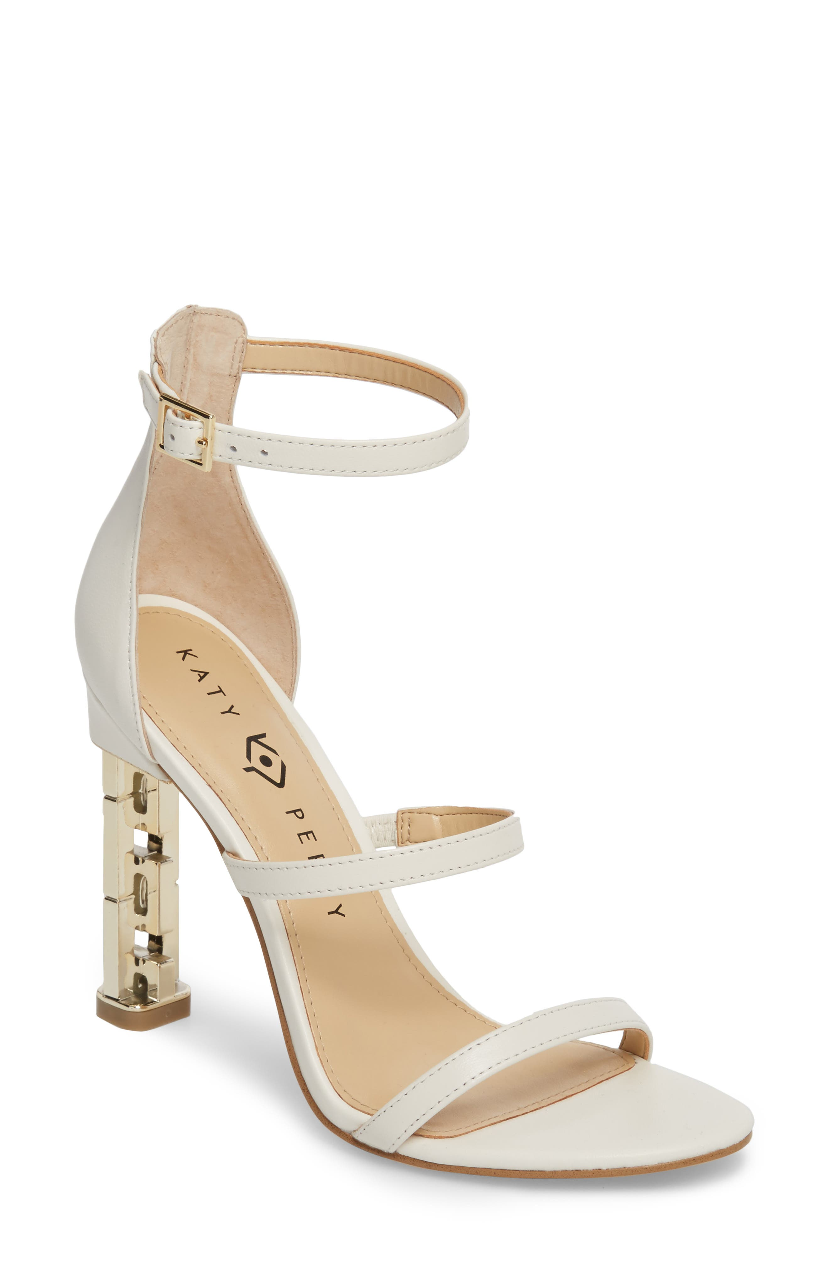 Ankle Strap Sandal,                         Main,                         color, IVORY LEATHER