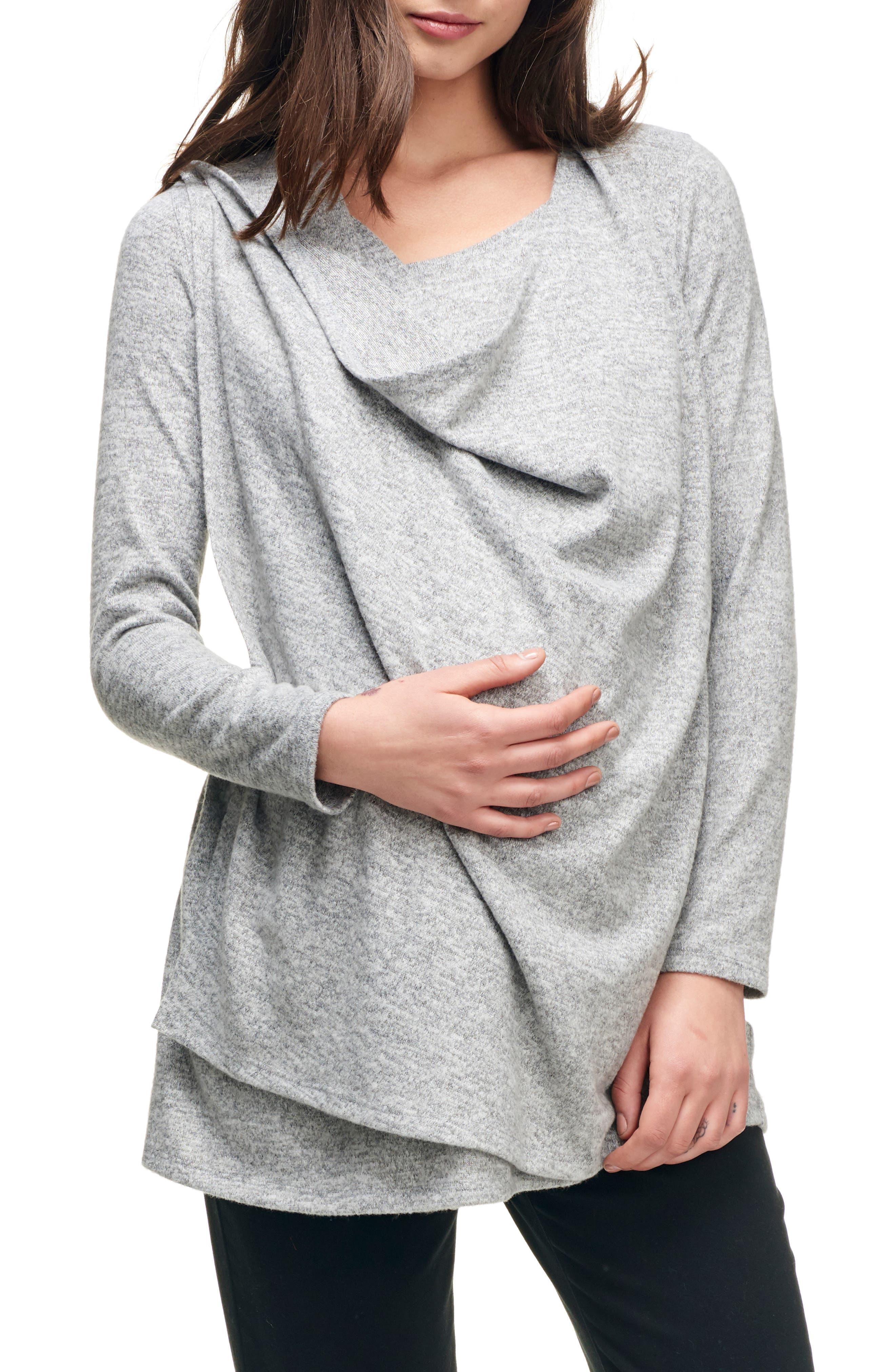 Maternity/Nursing Wrap Top,                         Main,                         color, HEATHER GREY