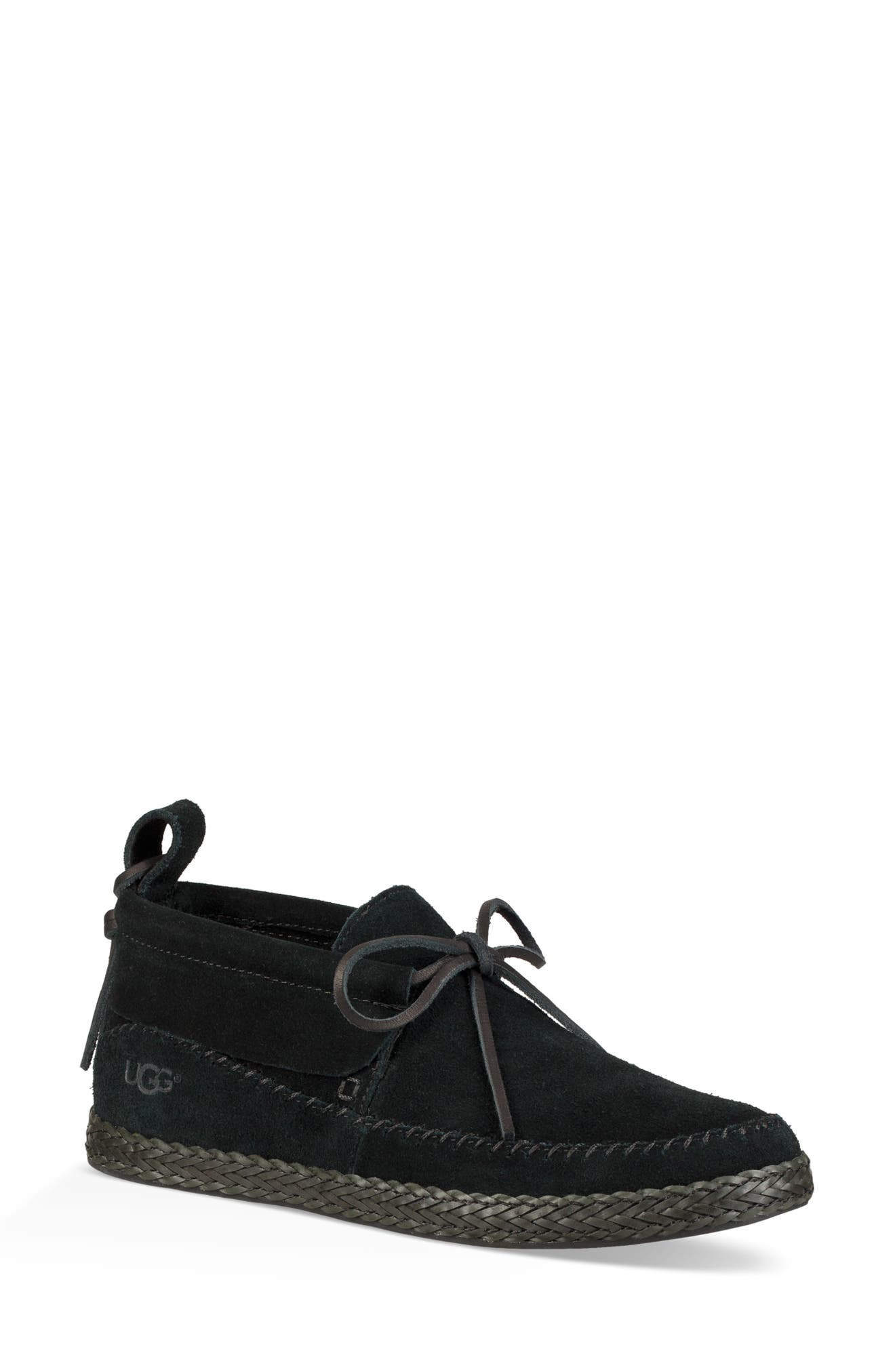 Woodlyn Moc Toe Bootie,                             Main thumbnail 1, color,                             BLACK LEATHER