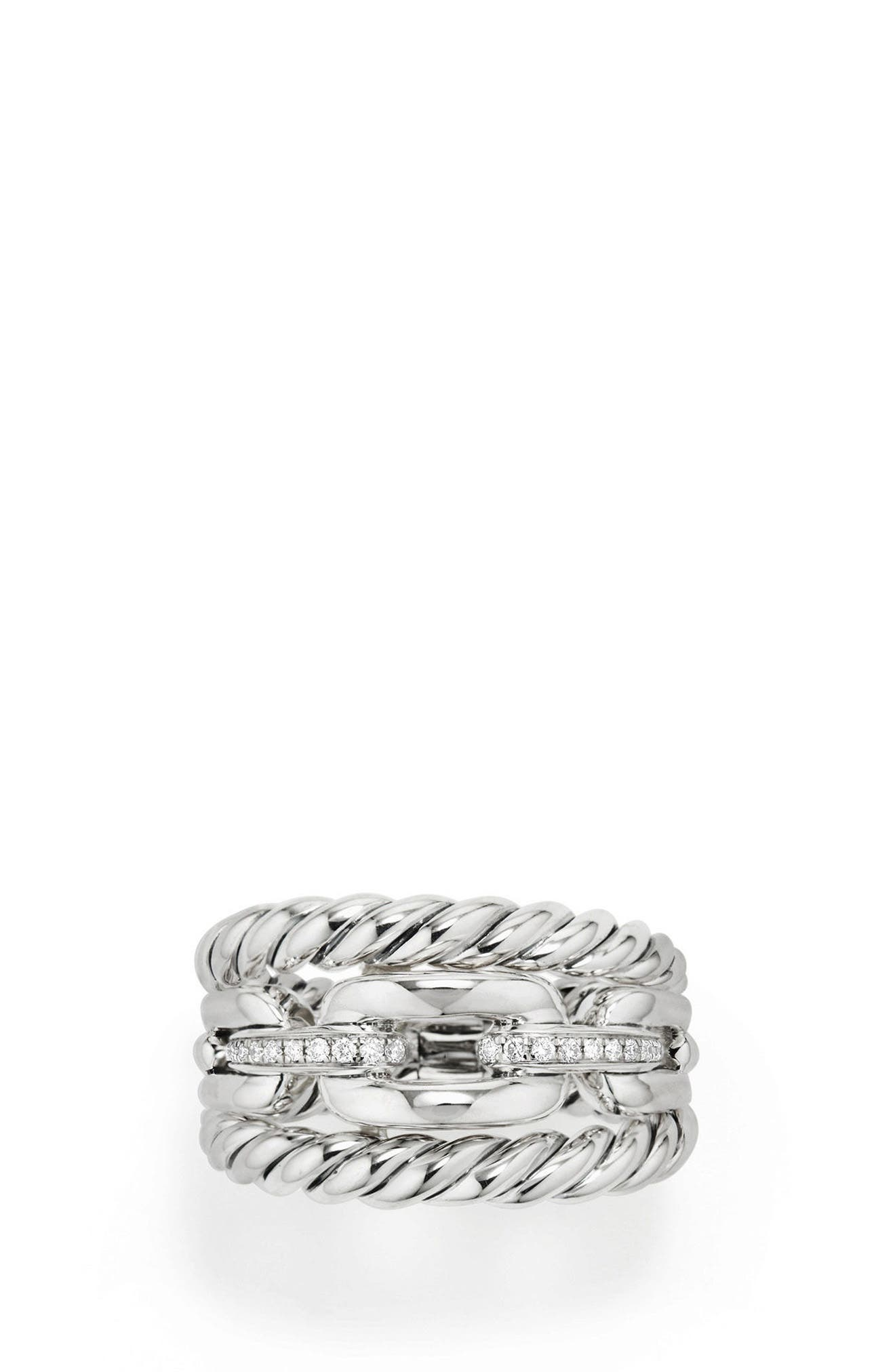 DAVID YURMAN,                             Wellesley Three-Row Ring with Diamonds,                             Alternate thumbnail 3, color,                             SILVER