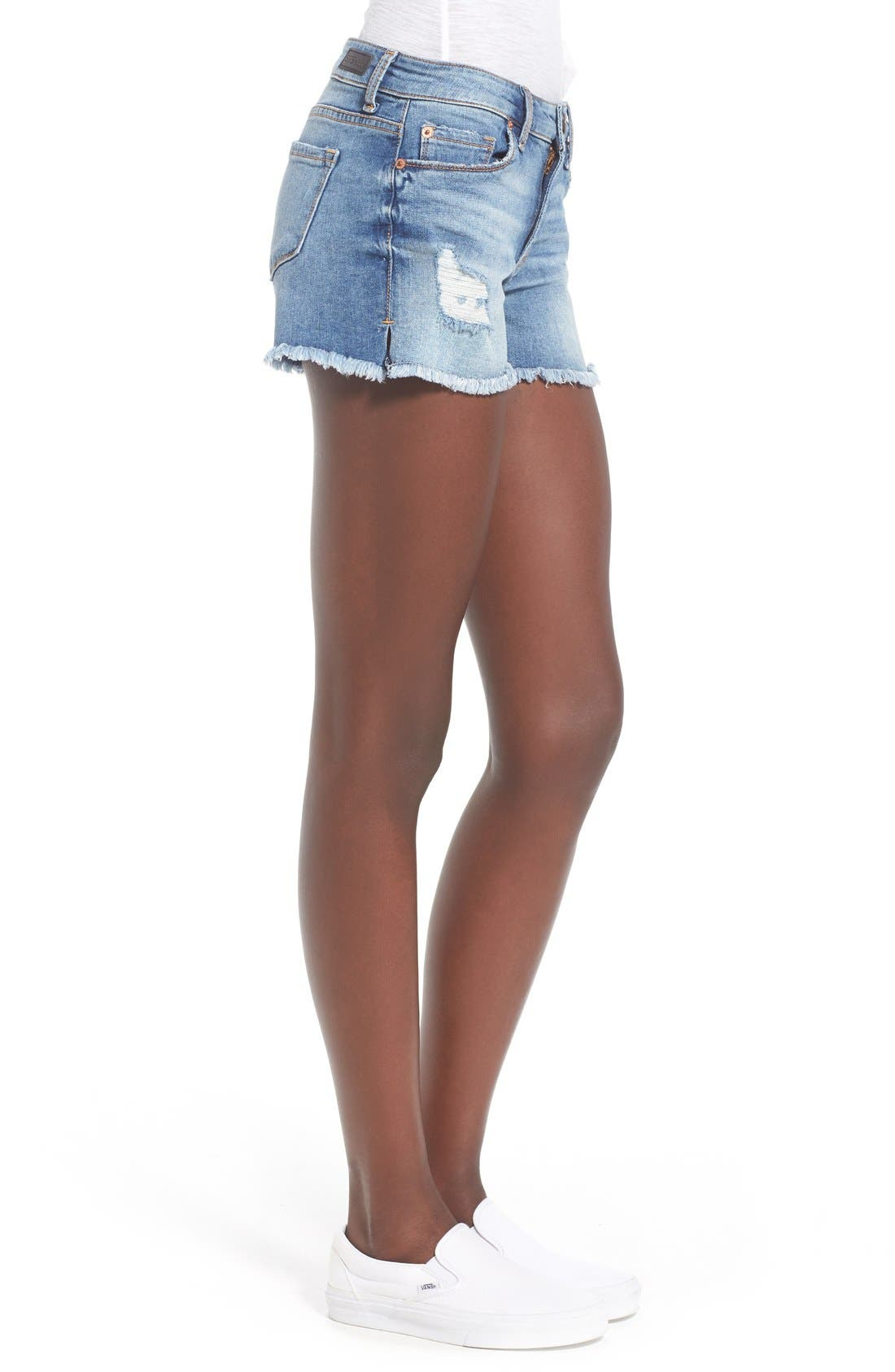 Distressed Cutoff Denim Shorts,                             Alternate thumbnail 6, color,                             994