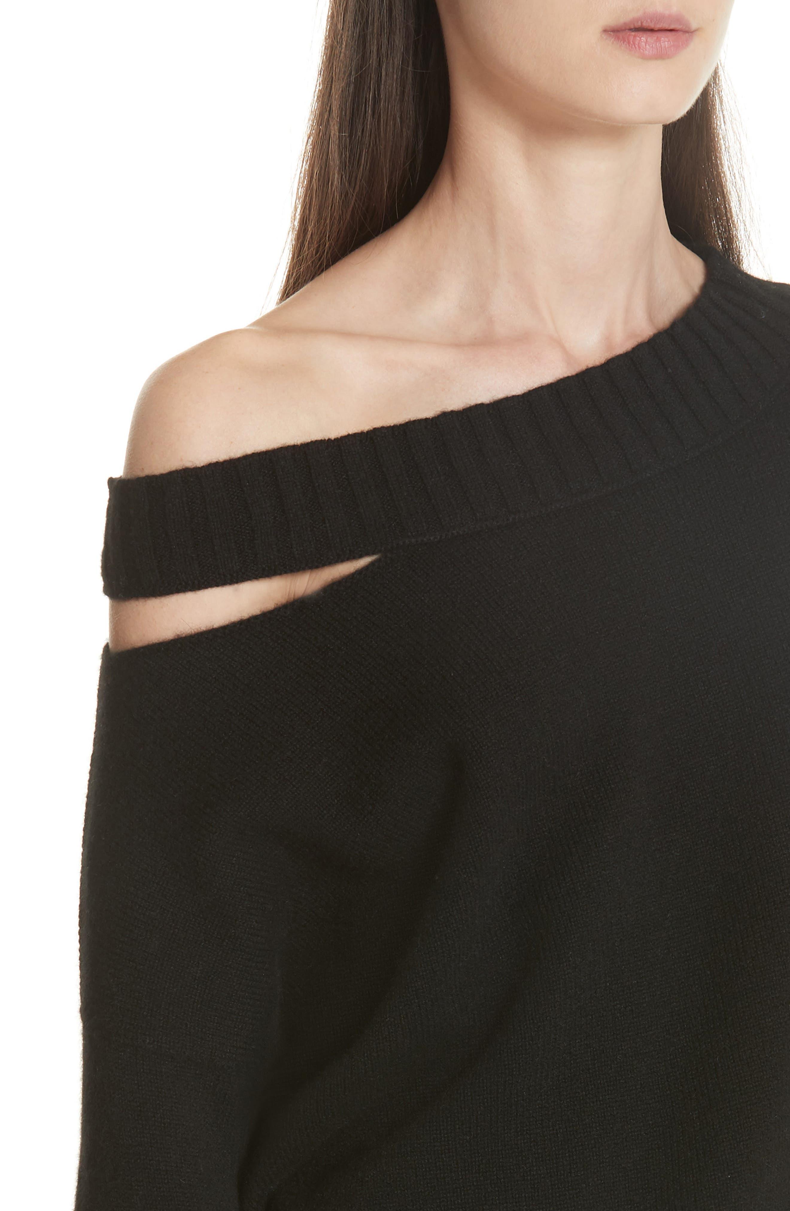 One Shoulder Slit Pullover Sweater,                             Alternate thumbnail 4, color,                             001