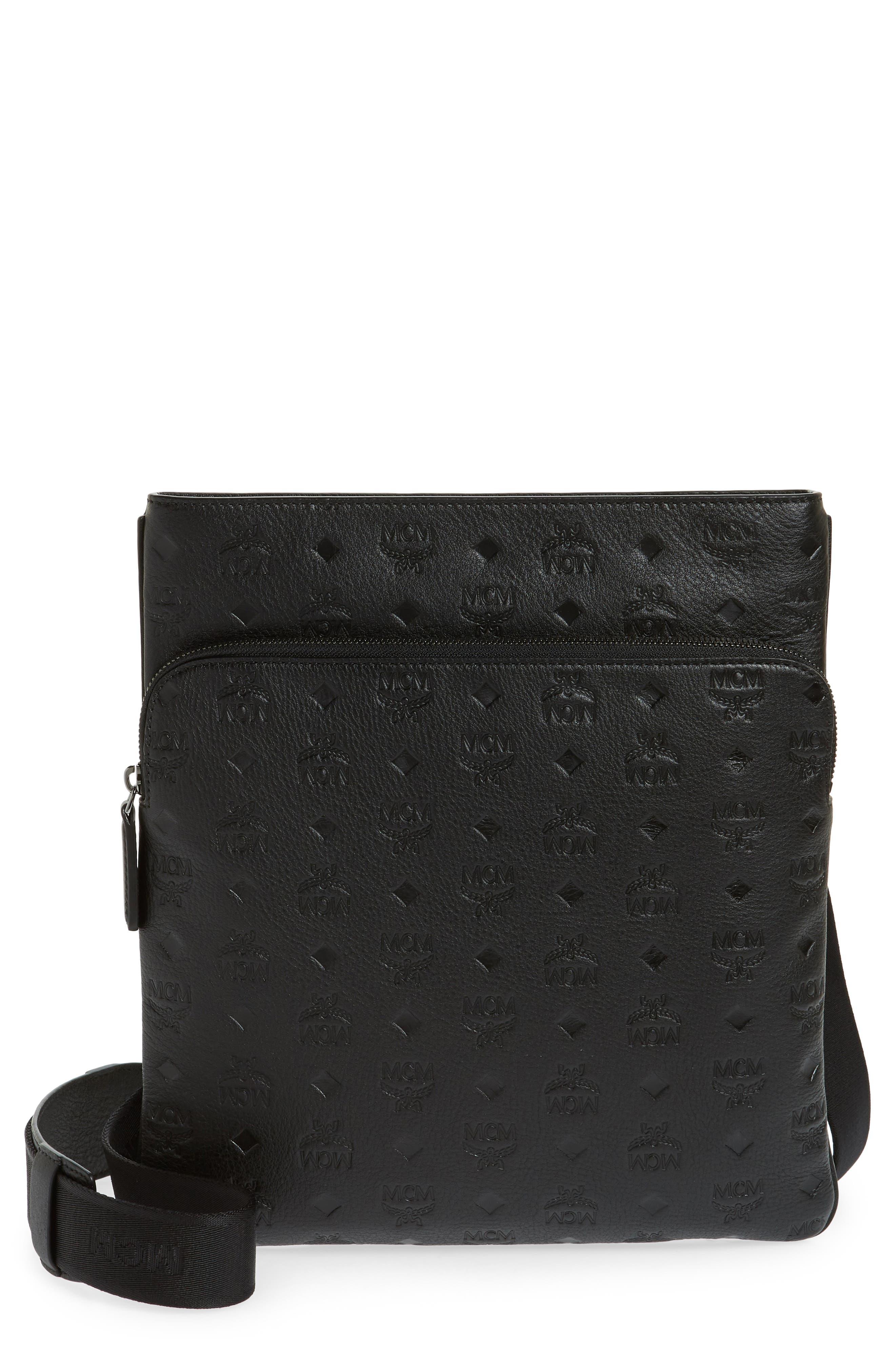 Ottomar Leather Crossbody Bag,                             Main thumbnail 1, color,                             001