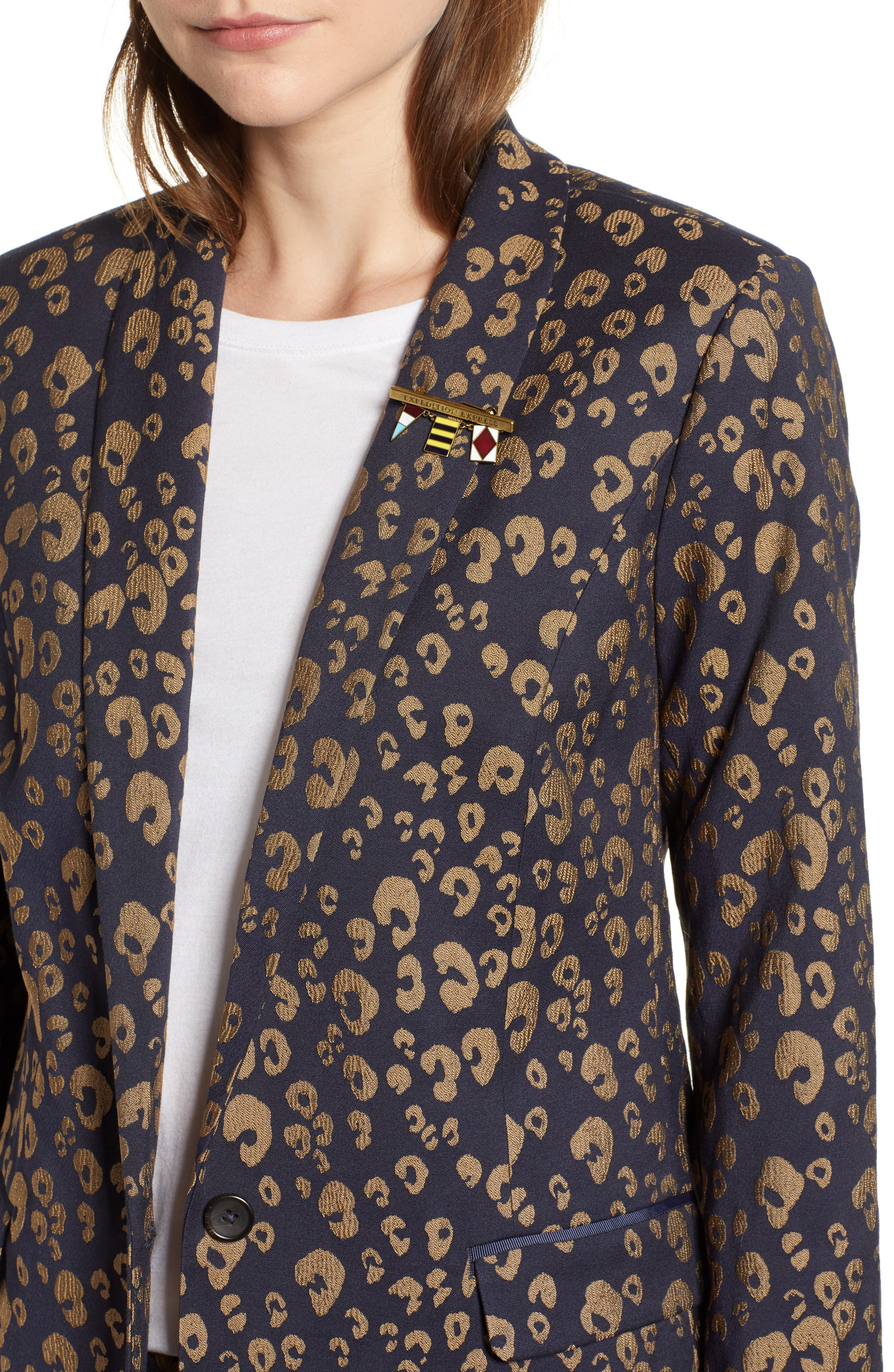 Stretch Jacquard Tailored Blazer,                             Alternate thumbnail 4, color,                             NAVY W/ GOLD LEOPARD PRINT