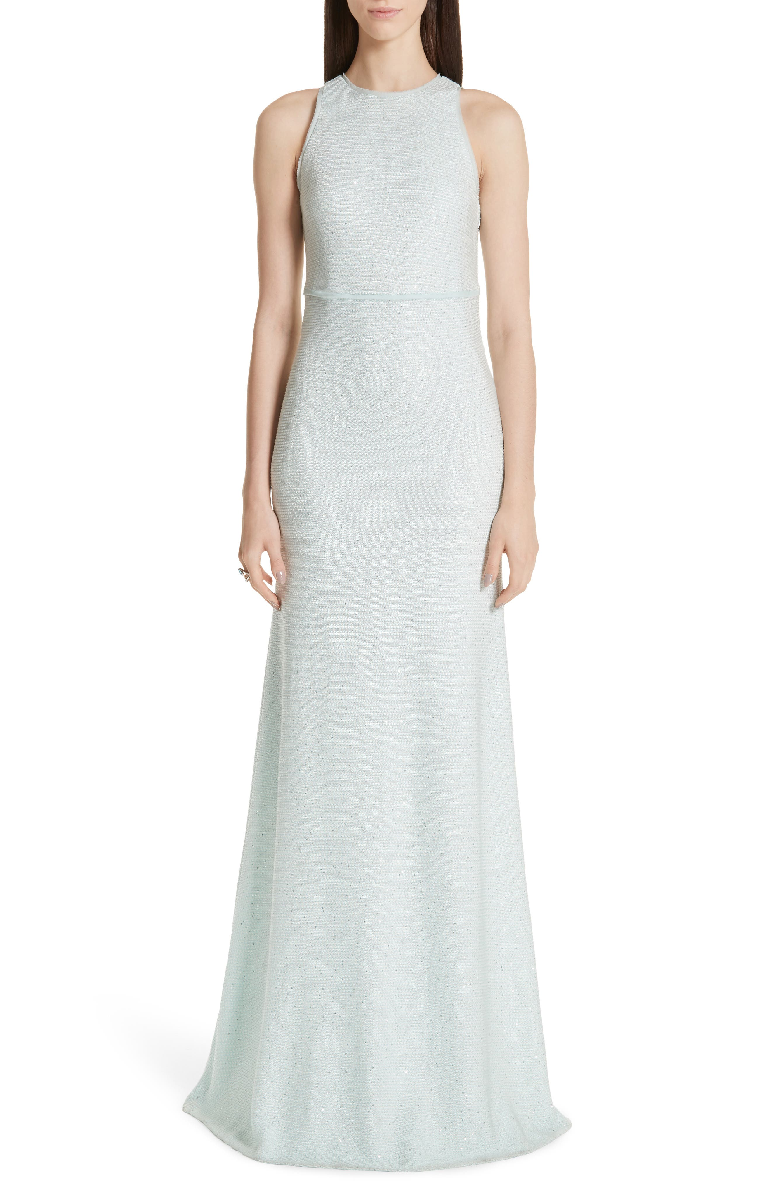 St. John Collection Links Sequin Knit Gown, Blue