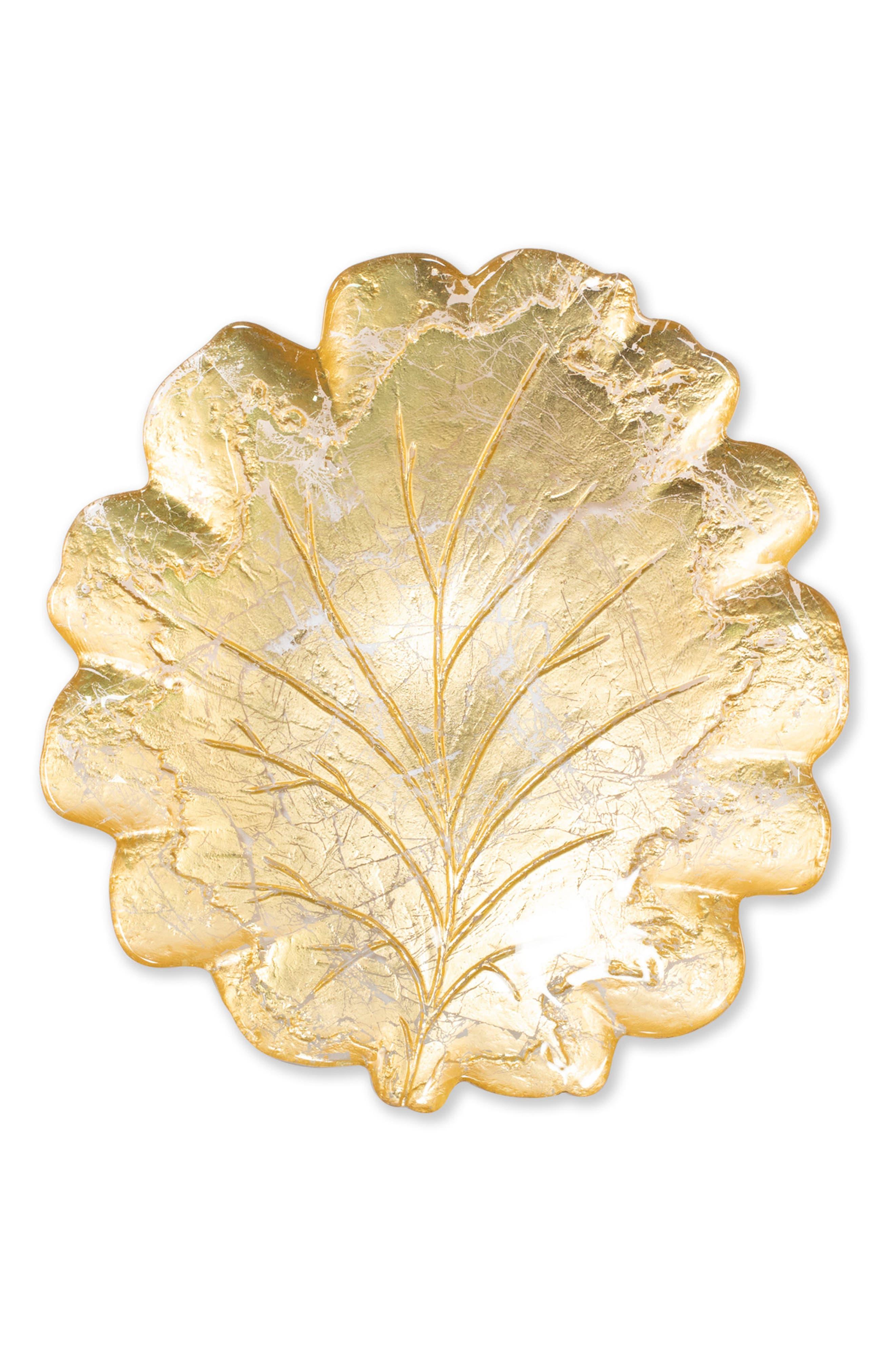 Vietri Moon Glass Leaf Platter Size One Size  Metallic