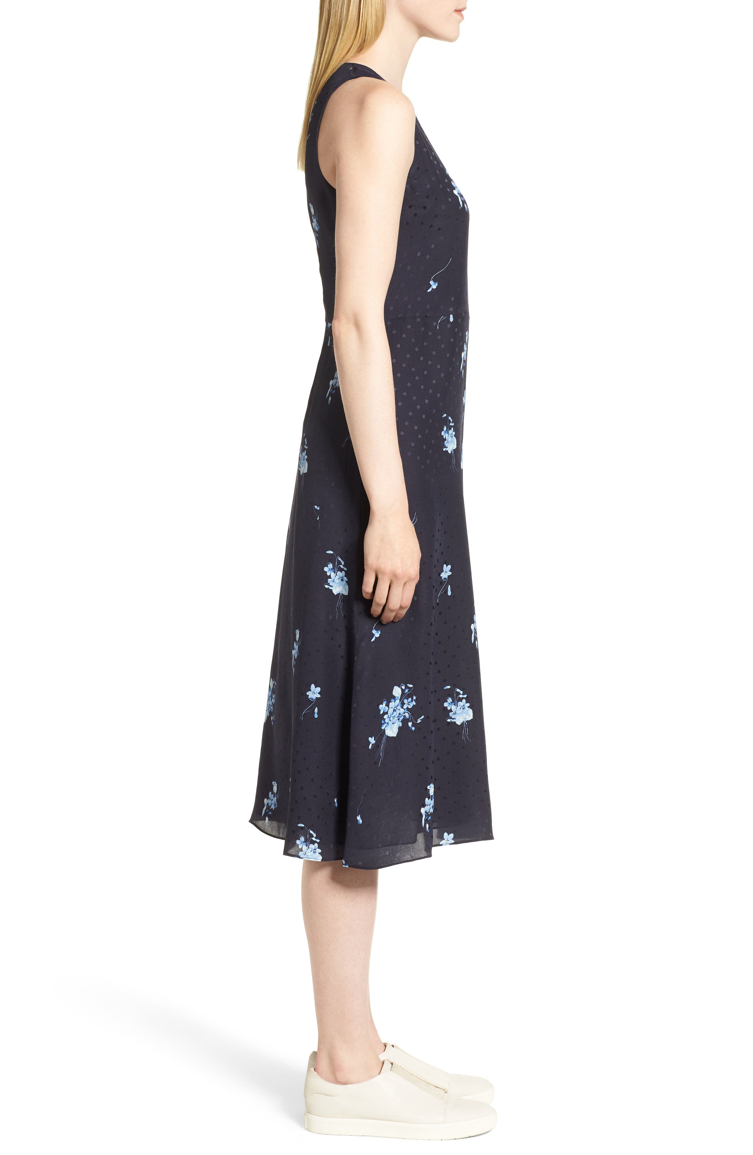 Floral Silk Midi Dress,                             Alternate thumbnail 3, color,                             410