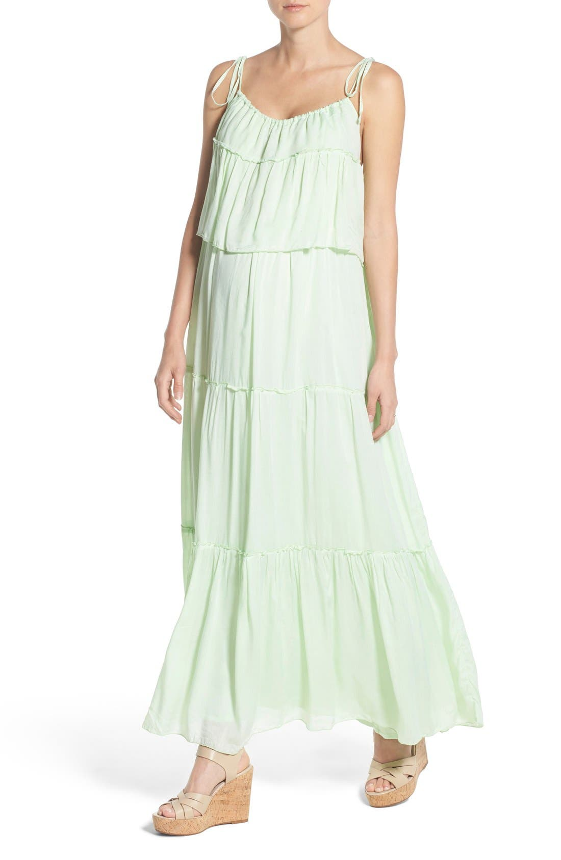 'Songbird' Popover Maternity/Nursing Maxi Dress,                             Alternate thumbnail 5, color,                             MINT
