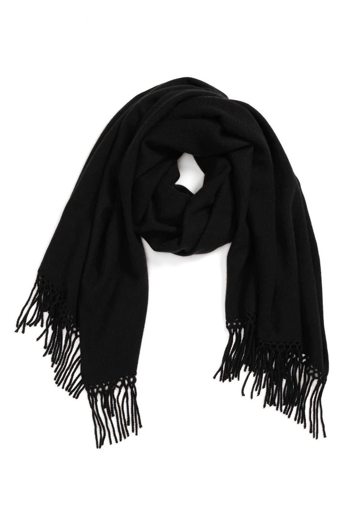 NORDSTROM Woven Cashmere Wrap, Main, color, 001