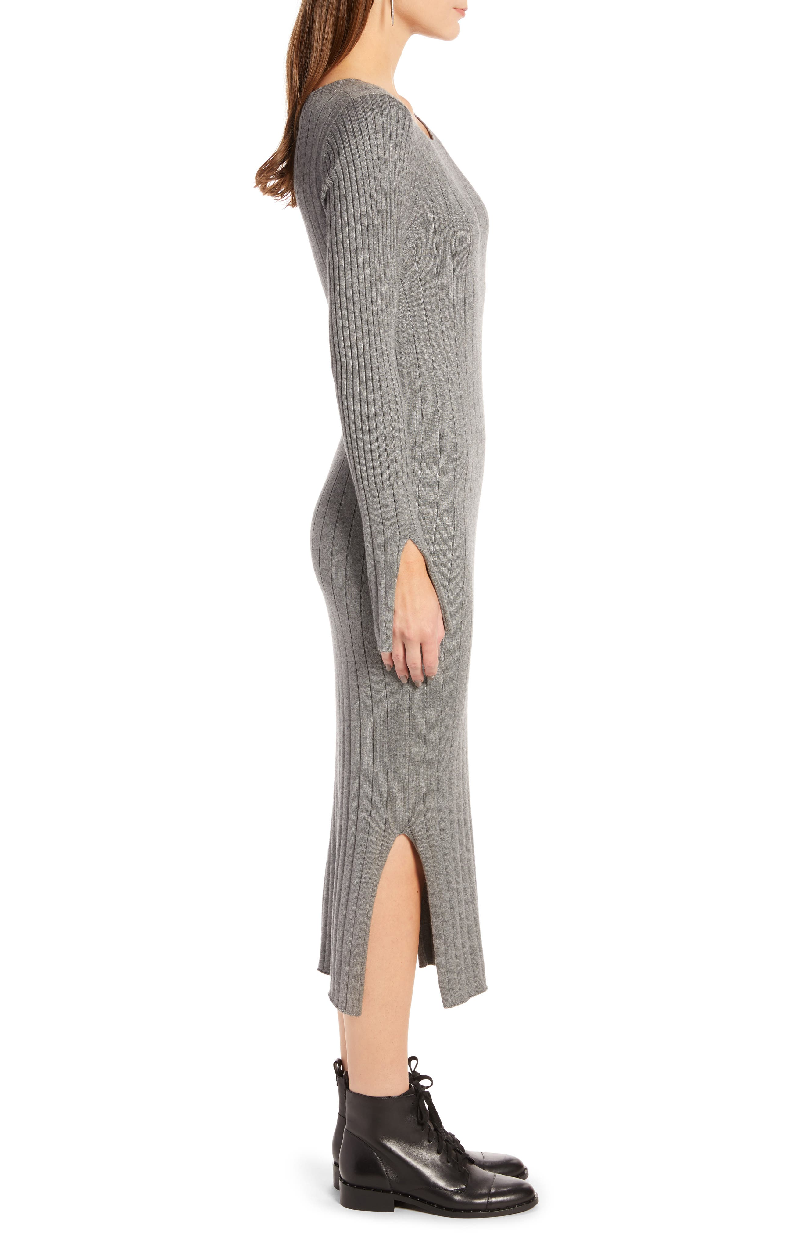 Ribbed Sweater Dress,                             Alternate thumbnail 3, color,                             GREY DARK HEATHER