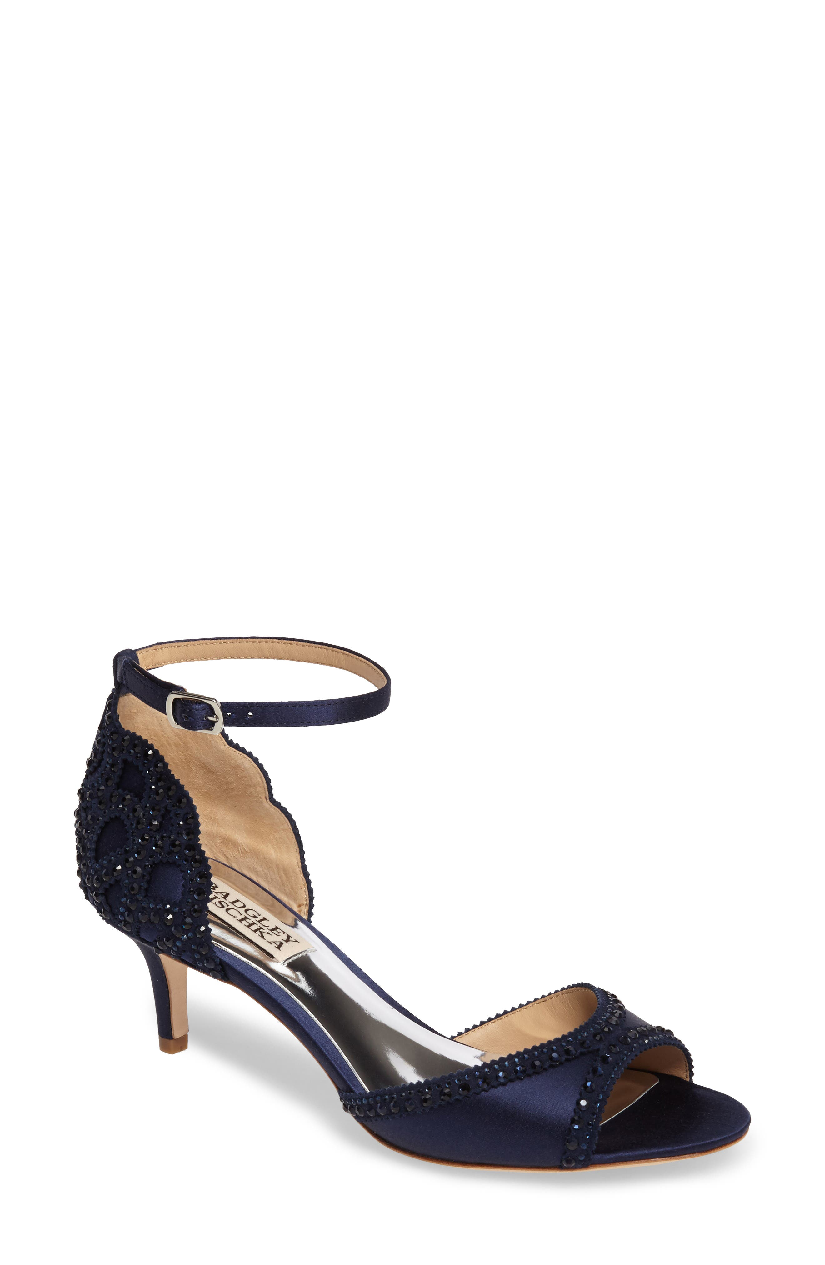 Badgley Mischka 'Gillian' Crystal Embellished d'Orsay Sandal,                             Main thumbnail 1, color,                             MIDNIGHT BLUE SATIN