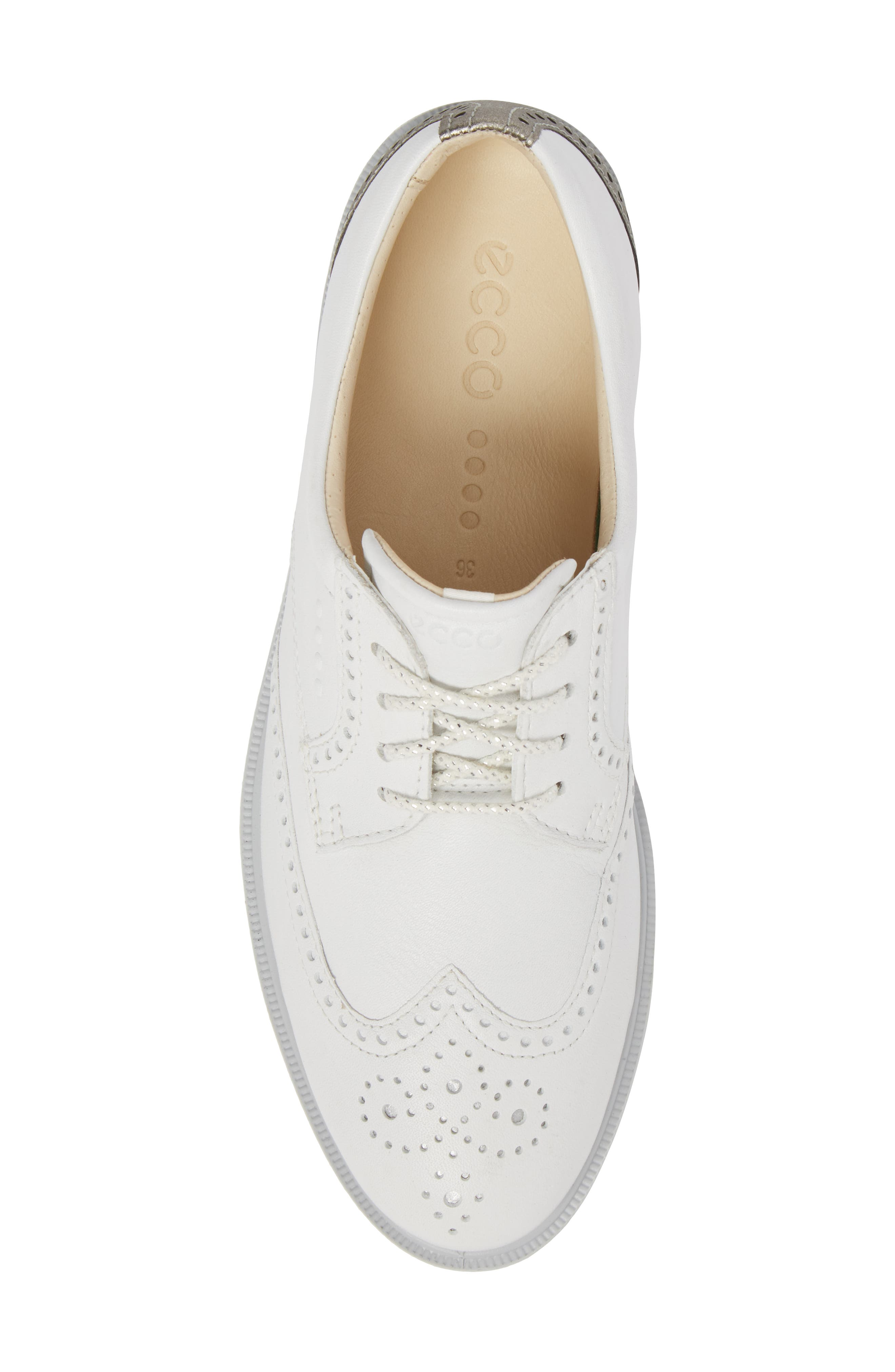 'Tour' Hybrid Wingtip Golf Shoe,                             Alternate thumbnail 5, color,                             WHITE LEATHER/ GREY