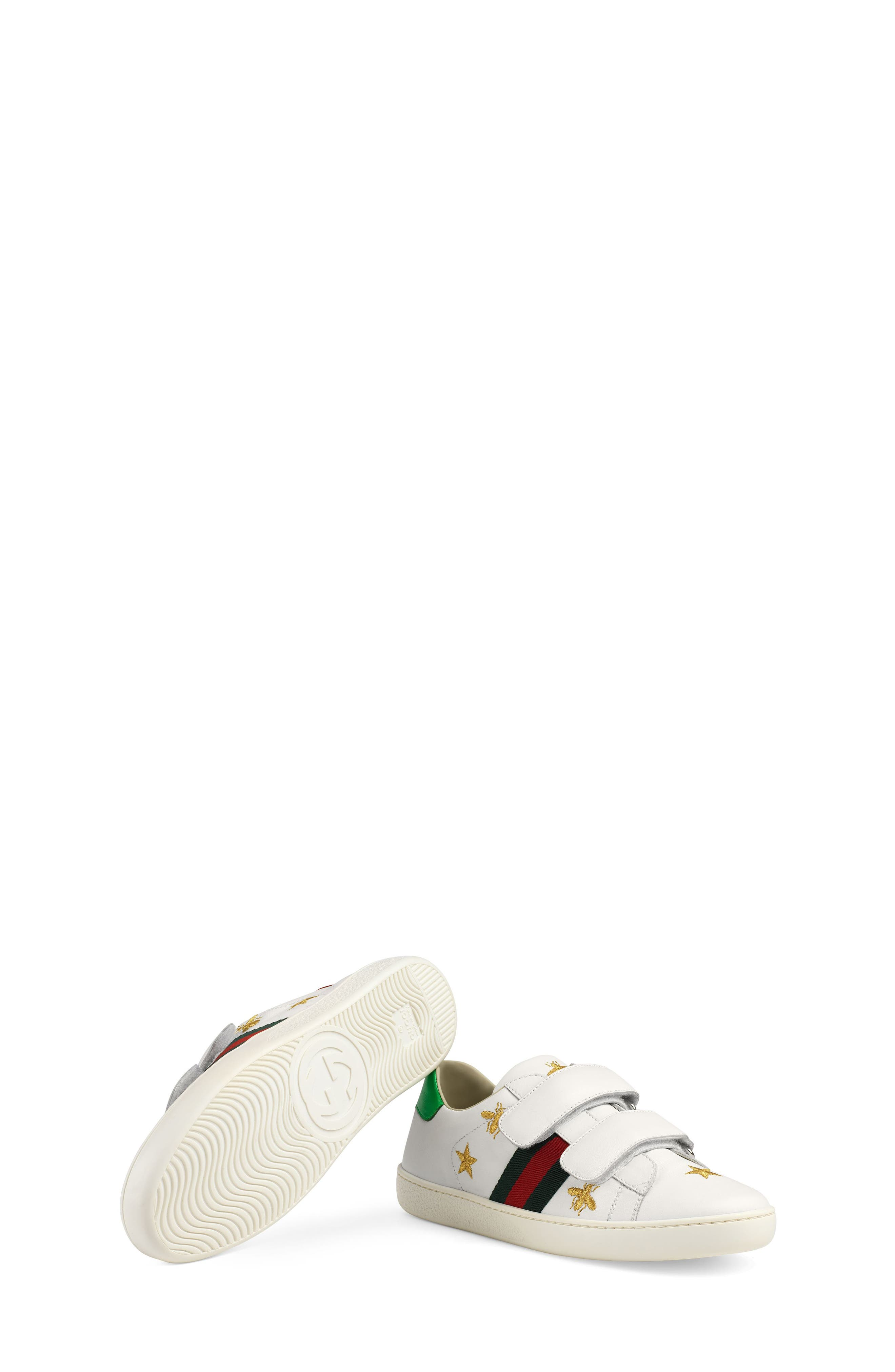 New Ace Embroidered Sneaker,                             Alternate thumbnail 5, color,                             WHITE STAR
