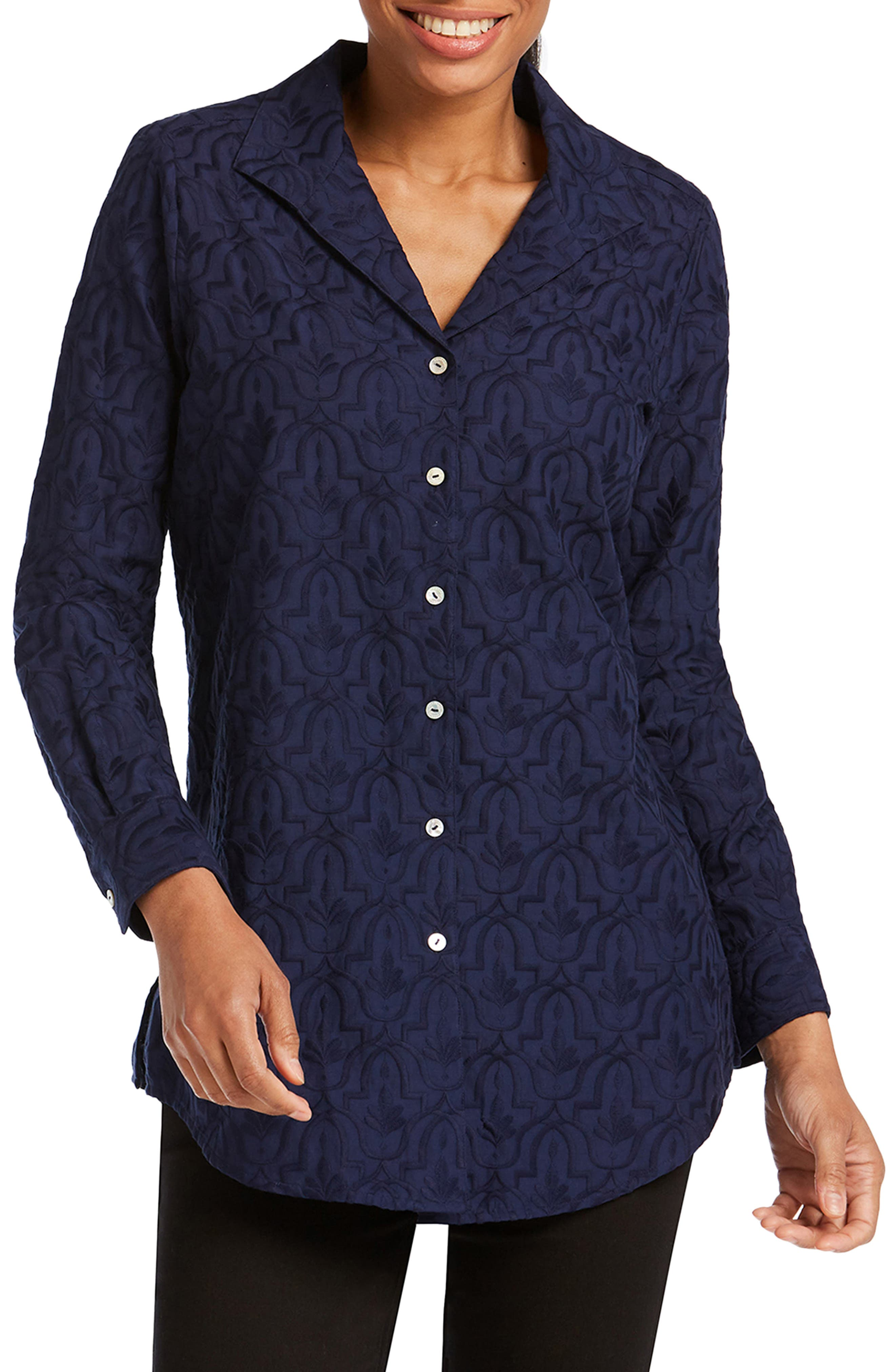 Ivy Mosaic Embroidery Cotton Tunic Top, Main, color, NAVY