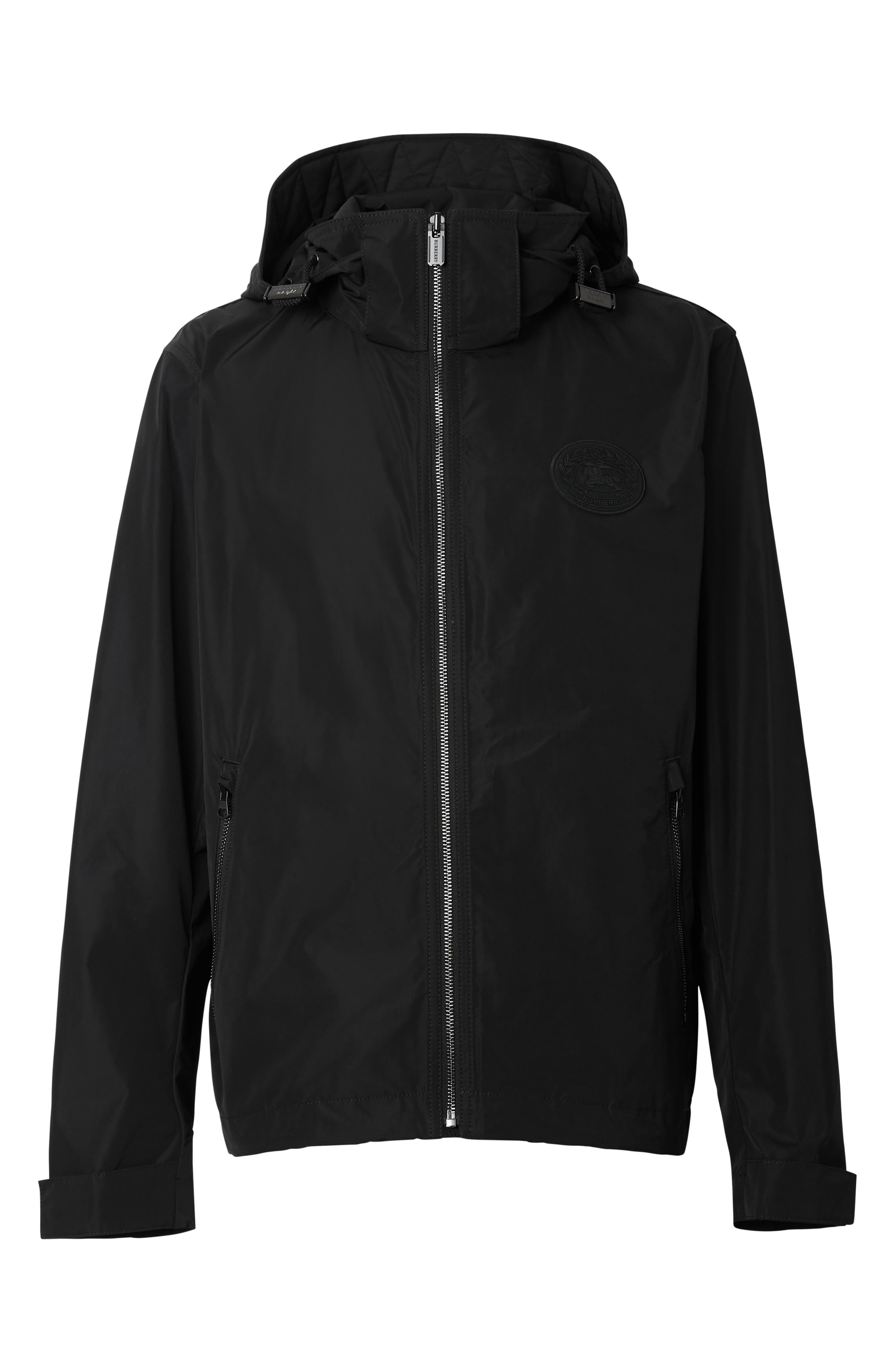 BURBERRY,                             Robinson Hooded Zip Up Waterproof Jacket,                             Alternate thumbnail 5, color,                             BLACK