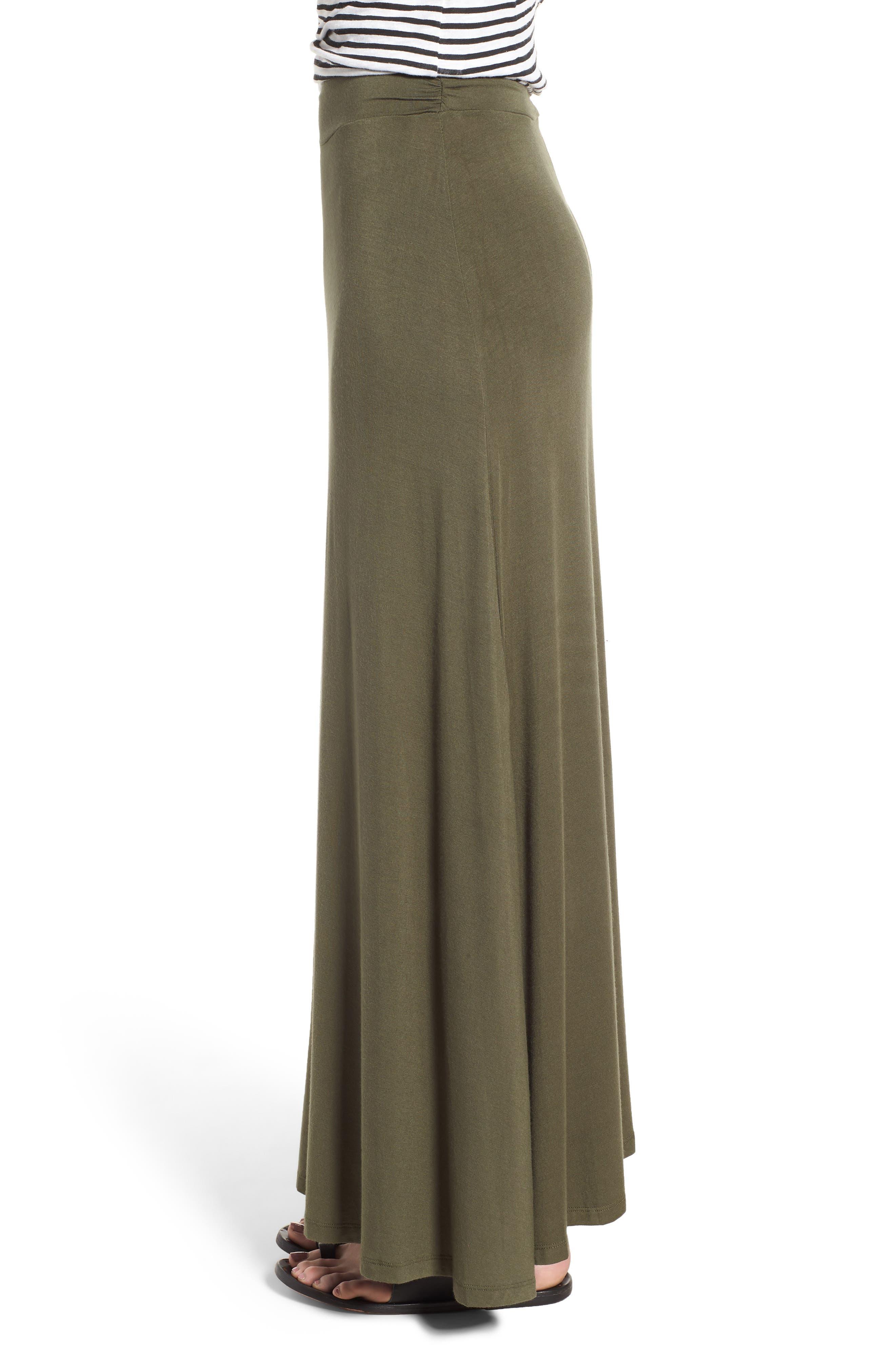 Ruched Waist Side Slit Maxi Skirt,                             Alternate thumbnail 3, color,                             302