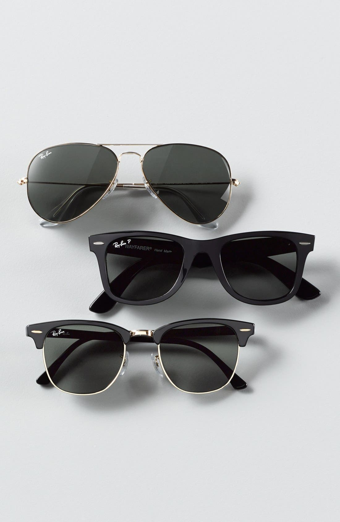 'Classic Wayfarer' 50mm Polarized Sunglasses,                             Alternate thumbnail 2, color,                             BLACK/ GREEN P