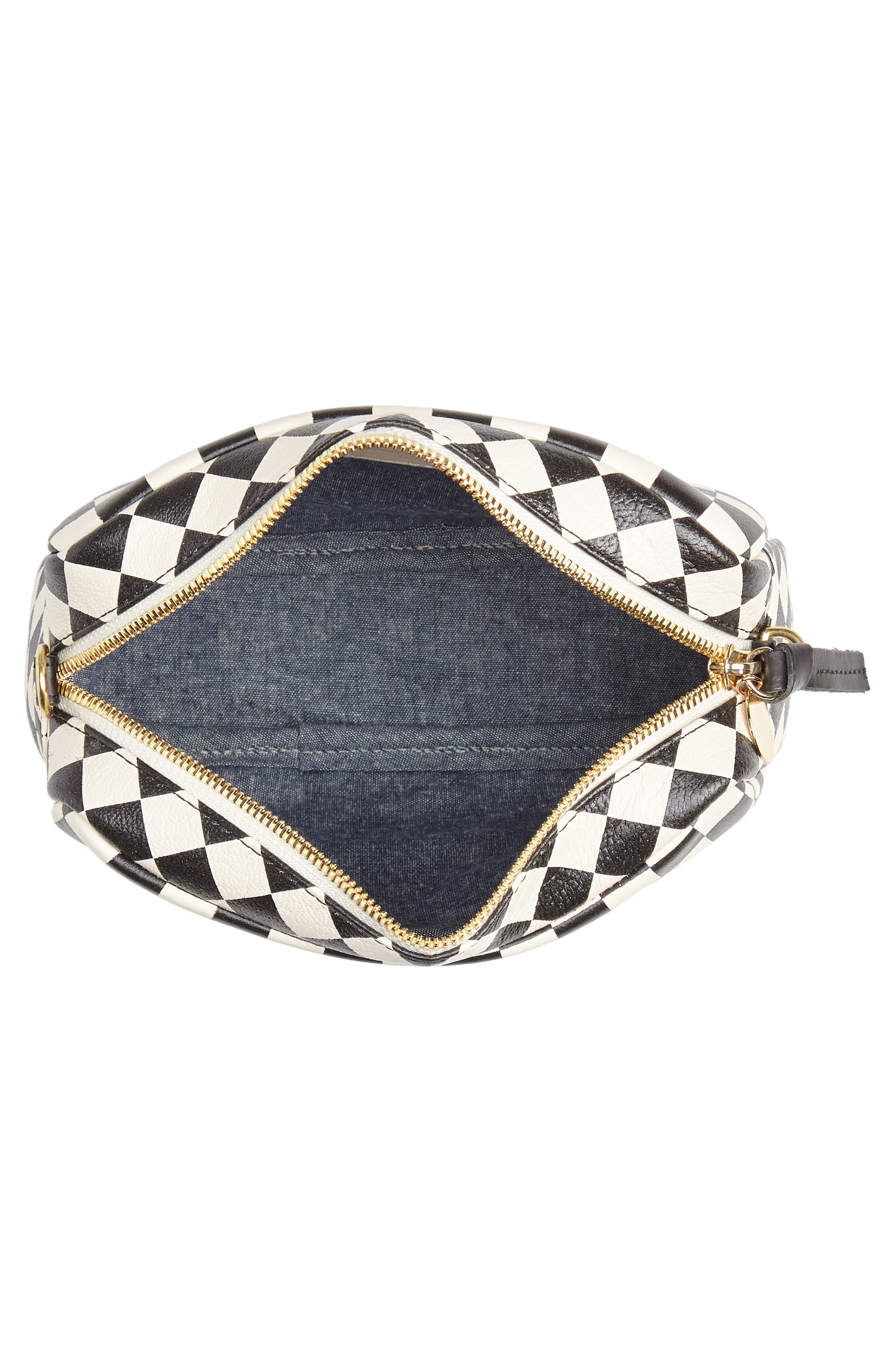 Midi Sac Check Leather Shoulder Bag,                             Alternate thumbnail 4, color,                             CREAM/ BLACK CHECKERS