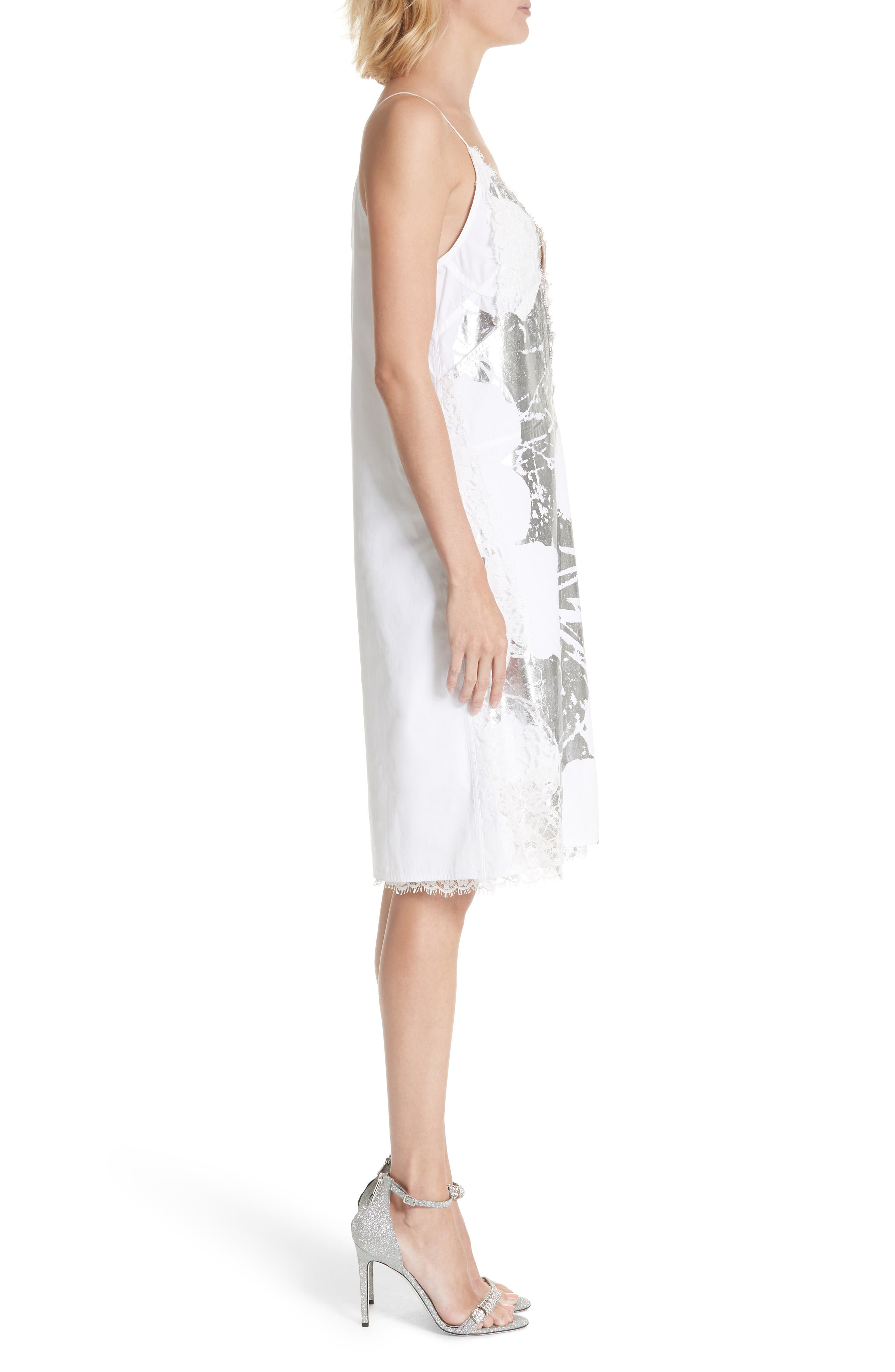 x Andy Warhol Foundation Foil Flowers Slipdress,                             Alternate thumbnail 3, color,                             OPTIC WHITE