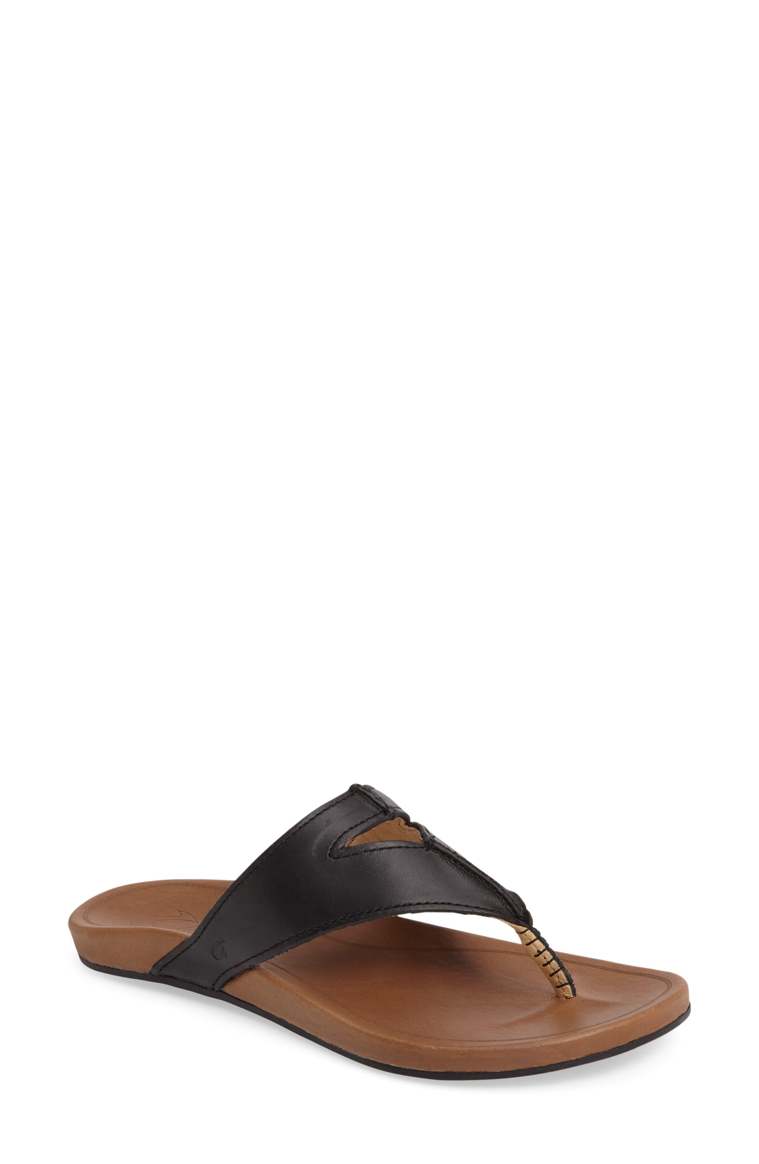 Lala Flip Flop,                         Main,                         color, BLACK/ TAN LEATHER