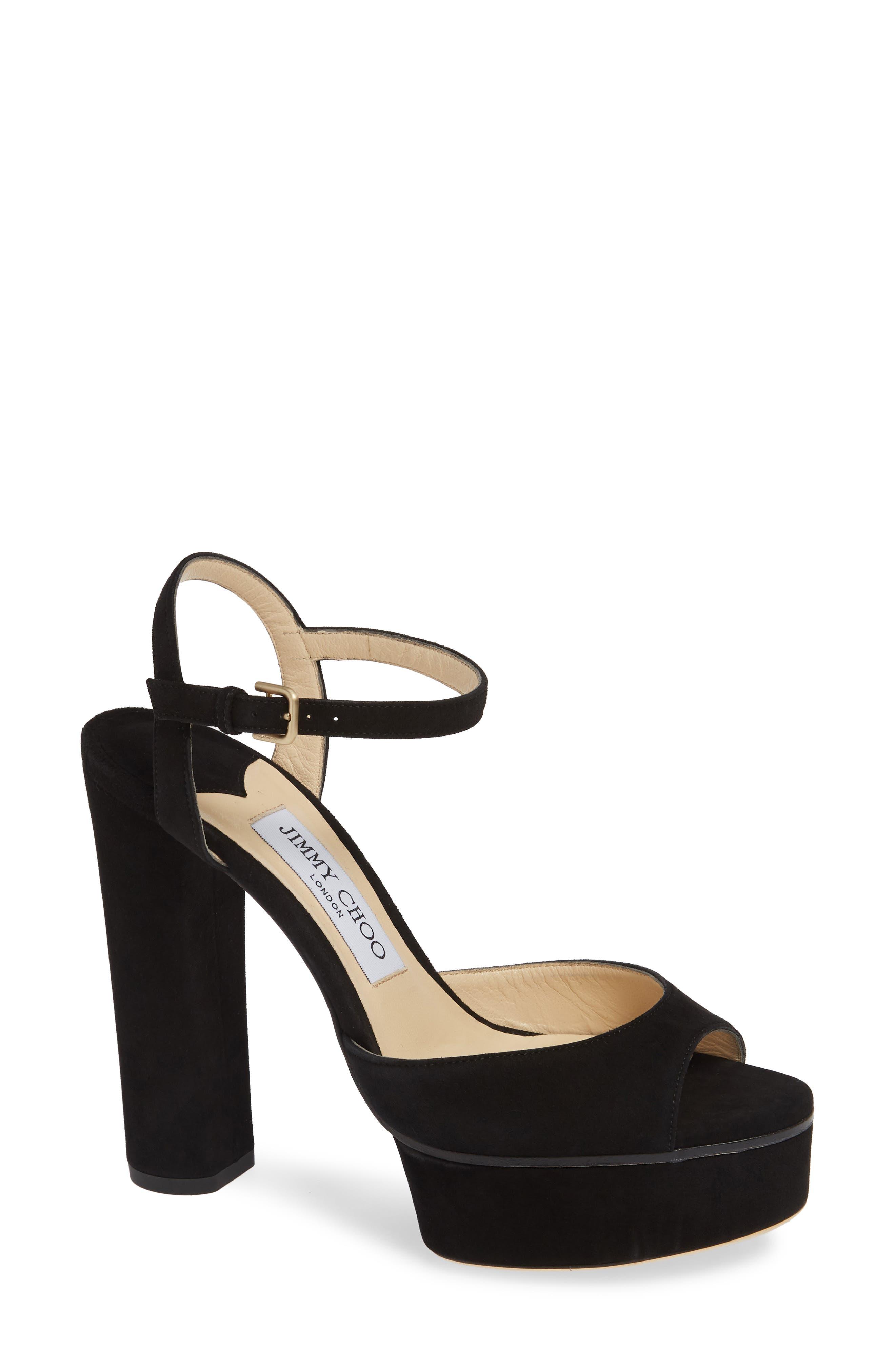 Peachy Platform Sandal,                             Main thumbnail 1, color,                             BLACK SUEDE