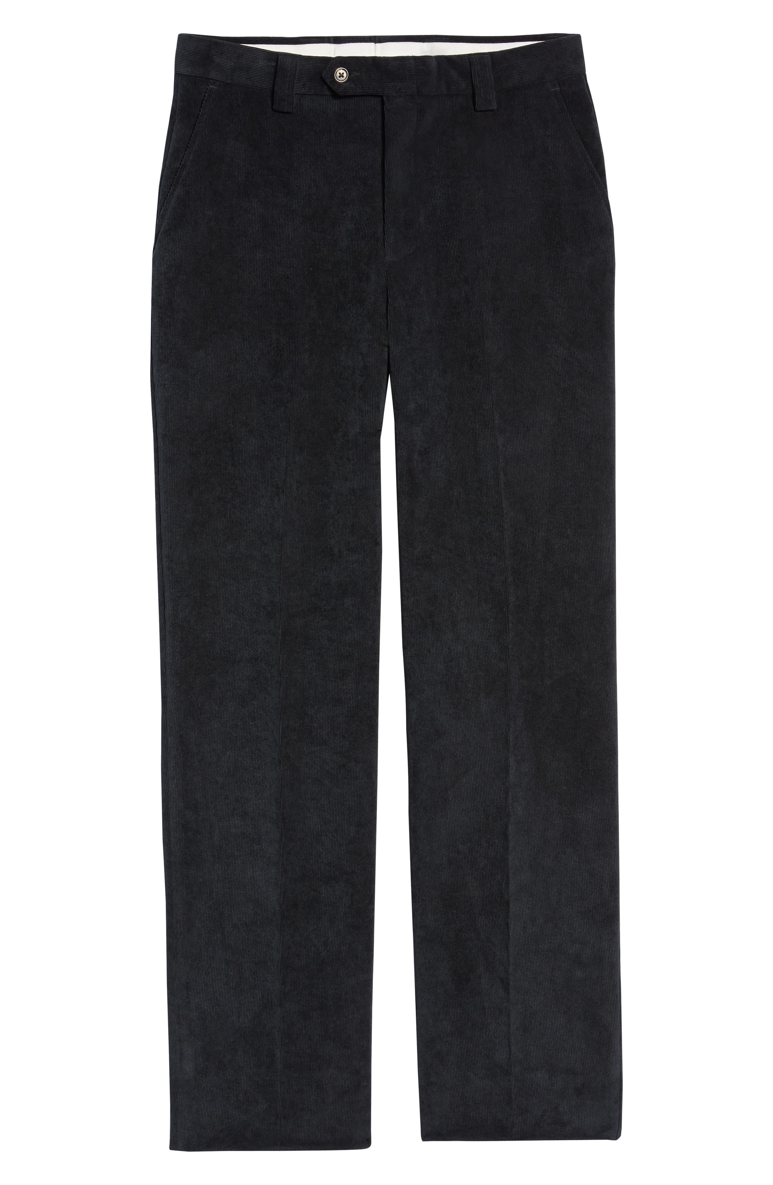 Classic Fit Flat Front Corduroy Trousers,                             Alternate thumbnail 6, color,                             BLACK