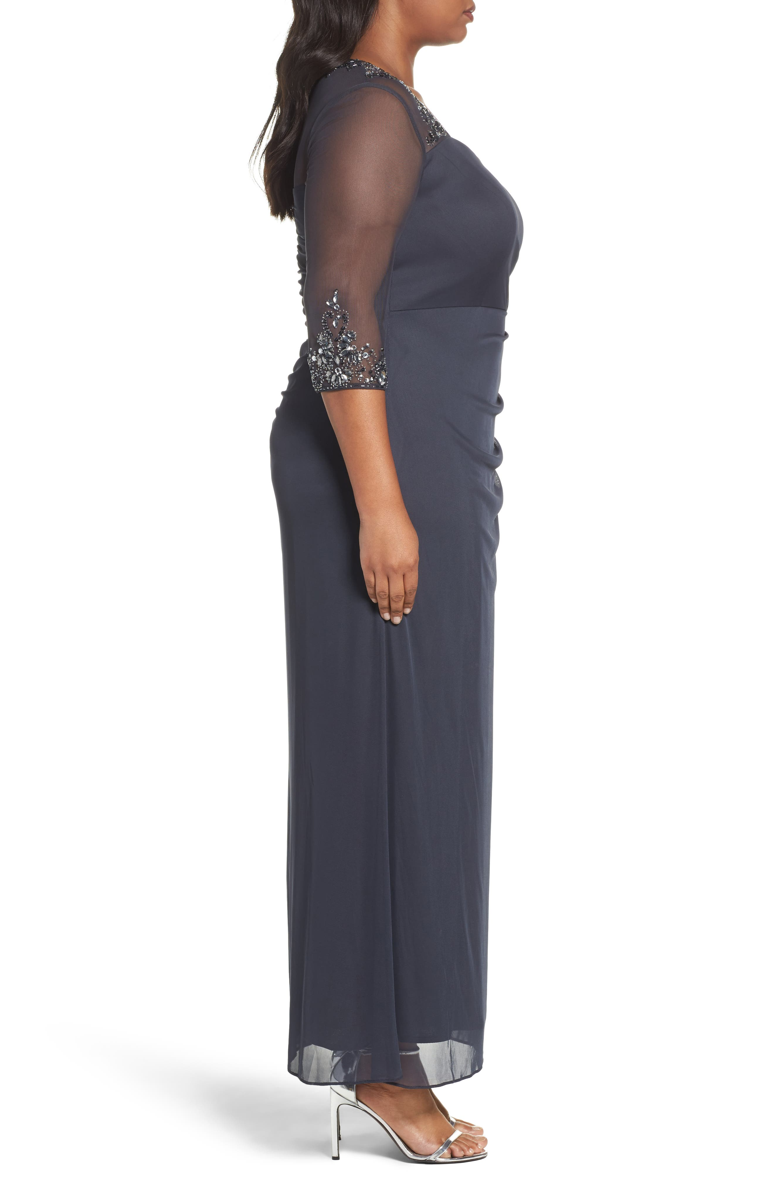 ALEX EVENINGS,                             Embellished Side Pleat Sweetheart Gown,                             Alternate thumbnail 3, color,                             CHARCOAL