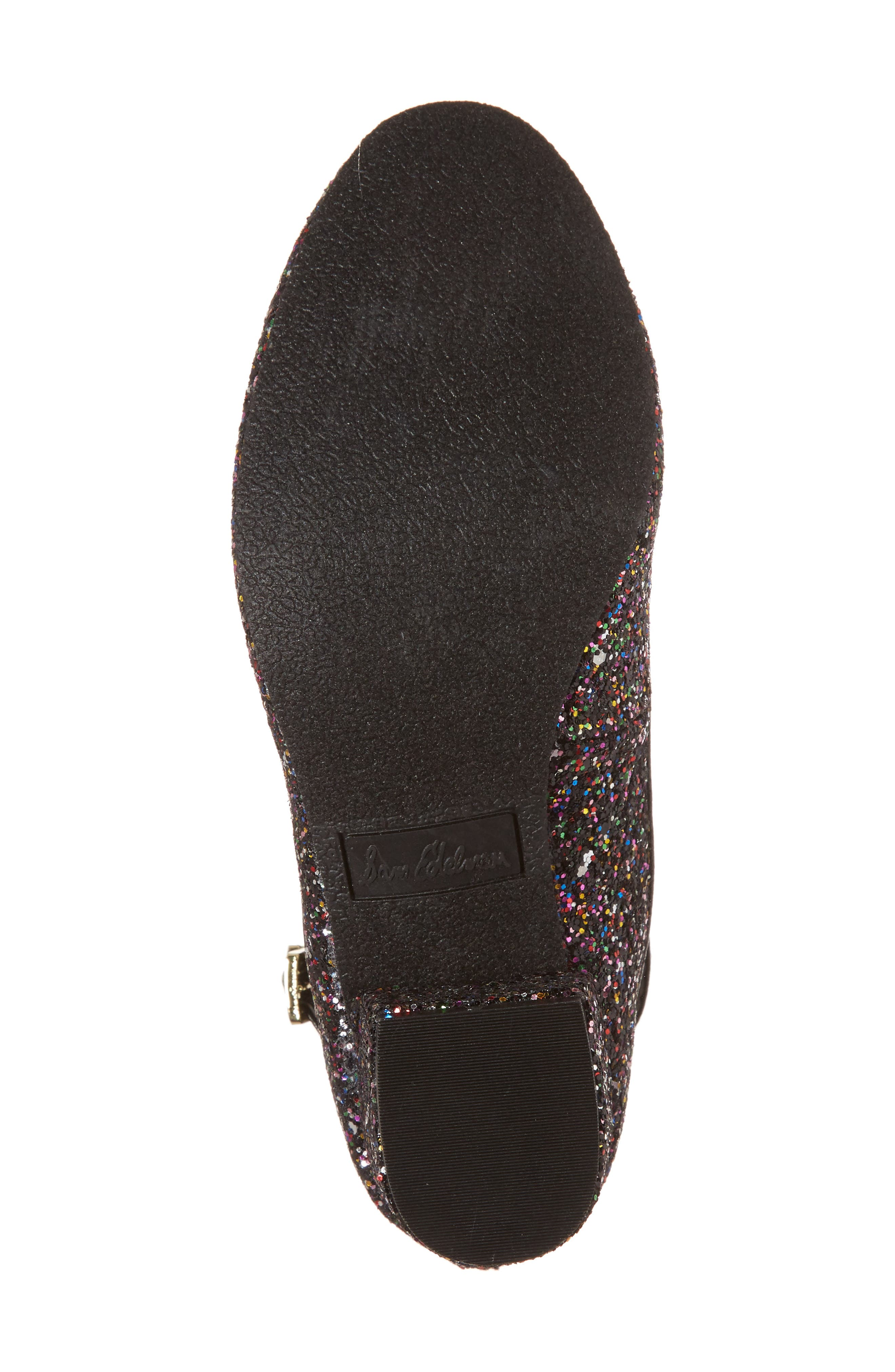 Evelyn Bree Ankle Strap Glitter Pump,                             Alternate thumbnail 6, color,                             001